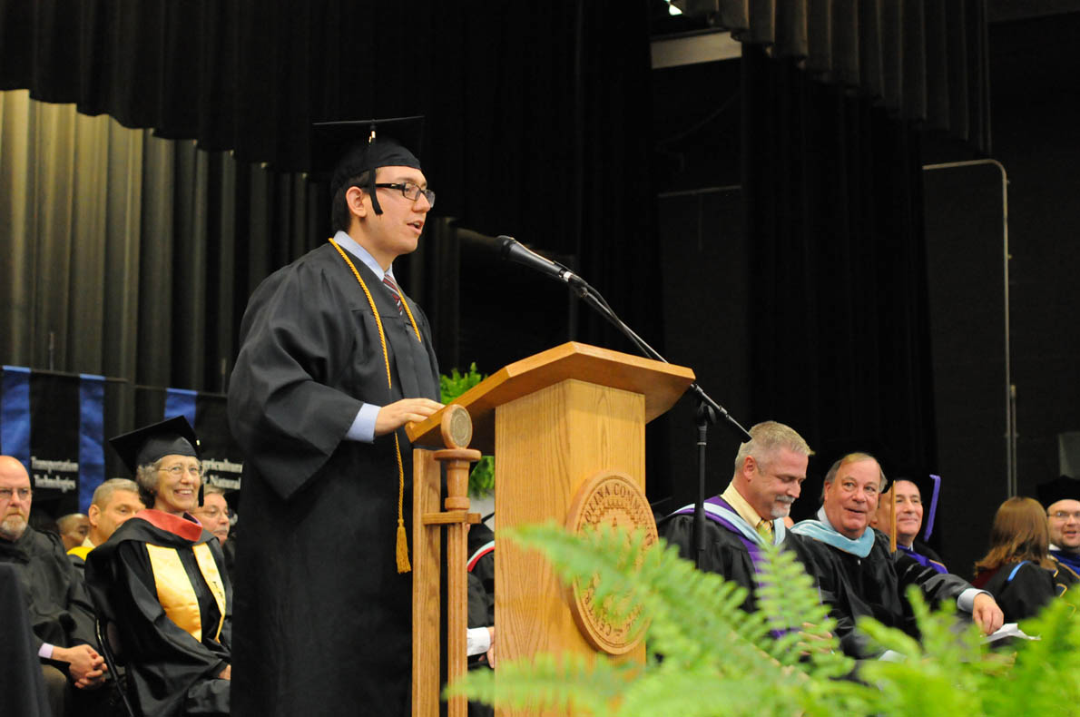 "Click to enlarge,  Joshua ""Al"" DeLong, who received the Associate of Applied Science in Laser & Photonics Technology, was the student speaker at the Central Carolina Community College 3 p.m. commencement exercises held on May 22 at the Dennis A. Wicker Civic Center in Sanford."