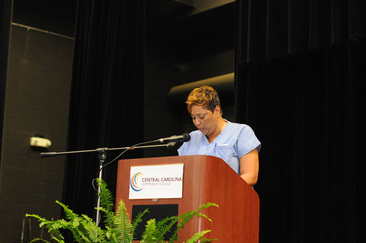Click to enlarge,  Sharon Rone, of Chatham County, was one of three student speakers at the Central Carolina Community College Continuing Education medical programs graduation. The event was held May 28 at the Dennis A. Wicker Civic Center in Sanford. For more information about Continuing Education medical programs, call Lennie Stephenson, CCCC's Director of Continuing Education medical programs, at 910-814-8833 or email lstephenson@cccc.edu.