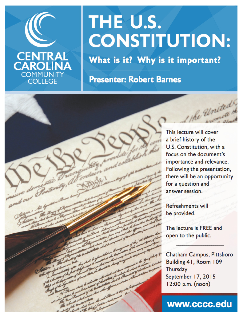 Constitution Day will be observed at CCCC Chatham Campus