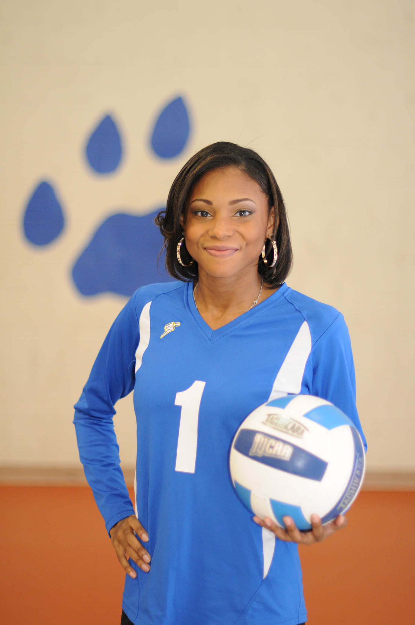 Click to enlarge,  Desiree Freeman is a captain of the Central Carolina Community College volleyball team.