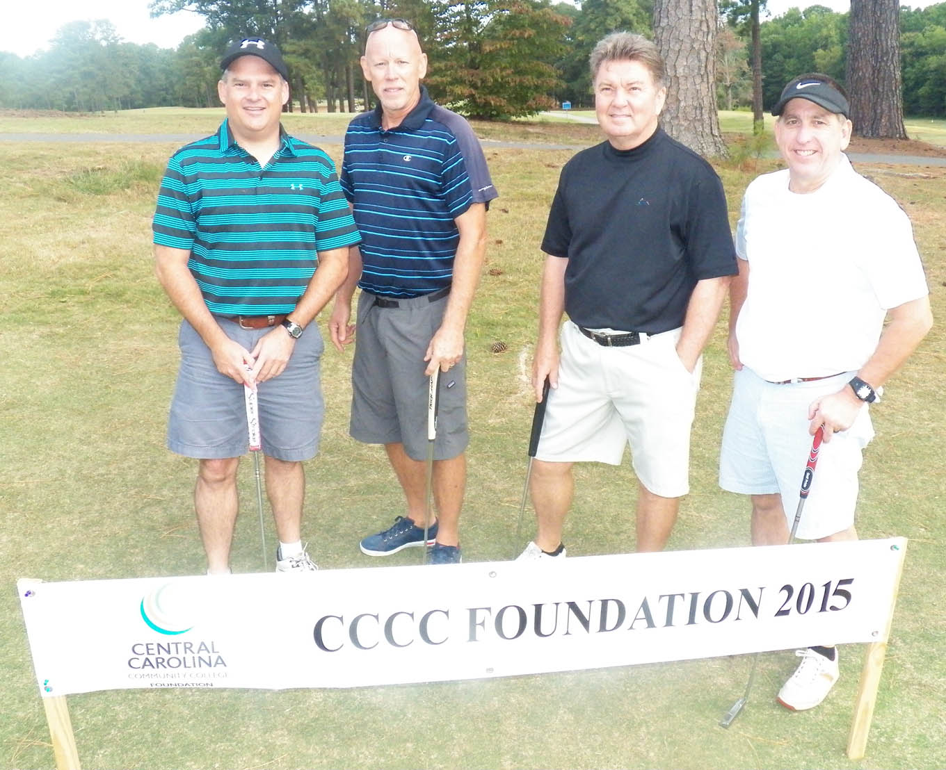 Click to enlarge,  The team of Richard Galloway, Dal Langston, Morris McClelion, and Brian Davis tied for first in the second flight of the morning tournament of the CCCC Foundation Lee Golf Classic.