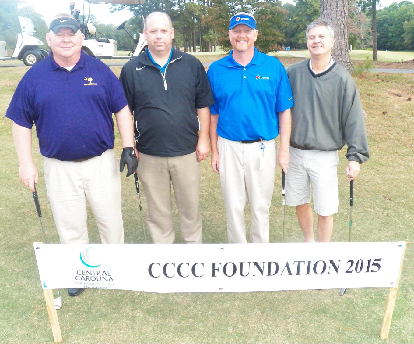 Click to enlarge,  The team of Dale Gregory, Vince Wenger, Johnnie Badgett, and Mike Hart won the third flight of the morning tournament of the CCCC Foundation Lee Golf Classic.