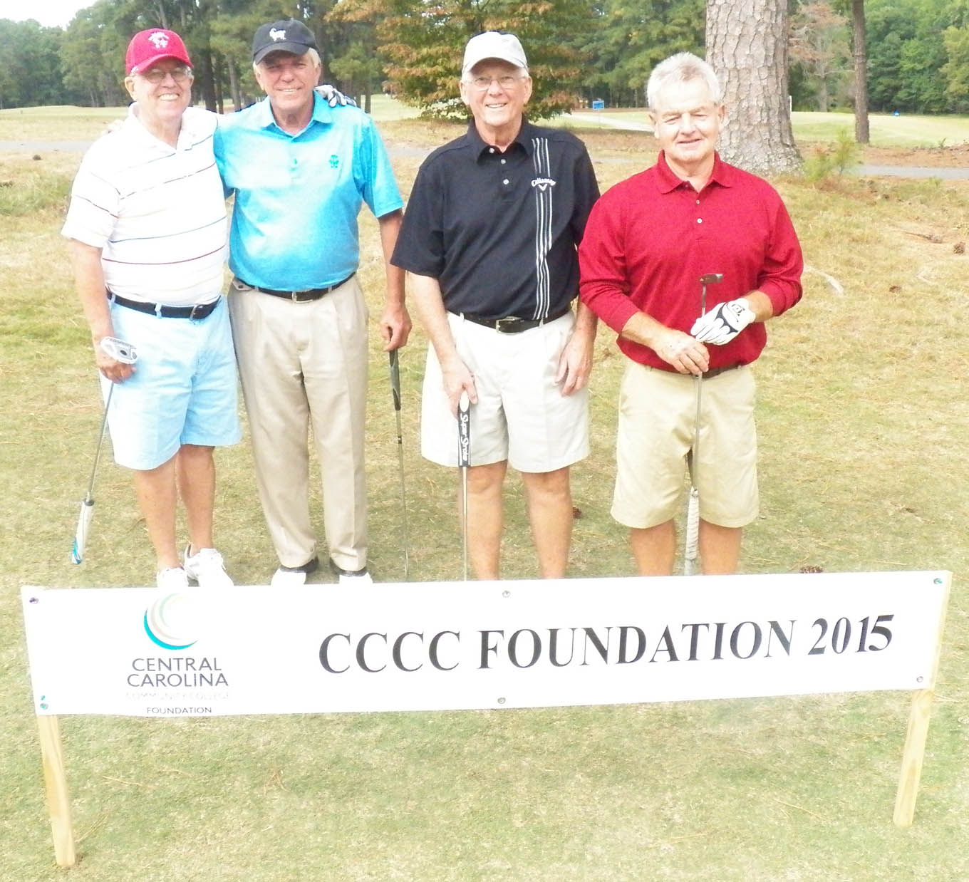 Click to enlarge,  The team of Mike Hendley, Rodney Harrill, Buddy Keller, and Odell Brady tied for first in the second flight of the afternoon tournament of the CCCC Foundation Lee Golf Classic.