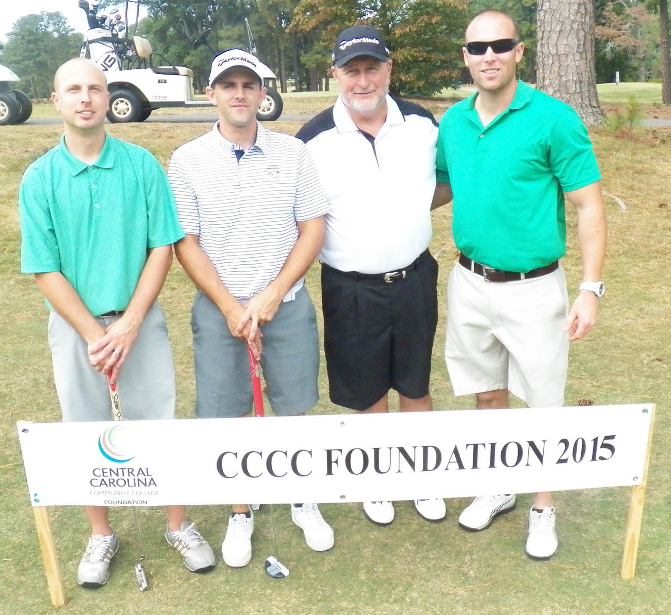 Click to enlarge,  The team of Travis Bailey, Colin Peregoy, Robert Garrison, and Charles Thomas tied for first in the second flight of the afternoon tournament of the CCCC Foundation Lee Golf Classic.