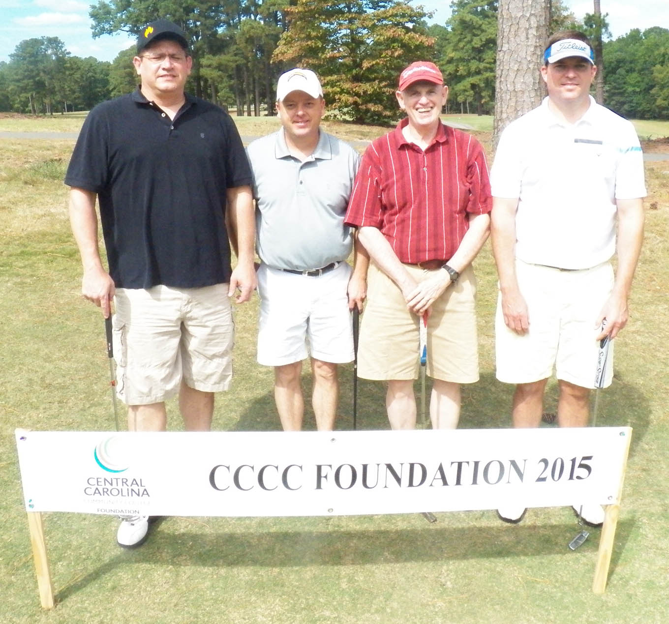 Click to enlarge,  The team of Troy Winter, Jeff Moncreif, Dusty Wood, and Kenny Stewart tied for first in the third flight of the afternoon tournament of the CCCC Foundation Lee Golf Classic.