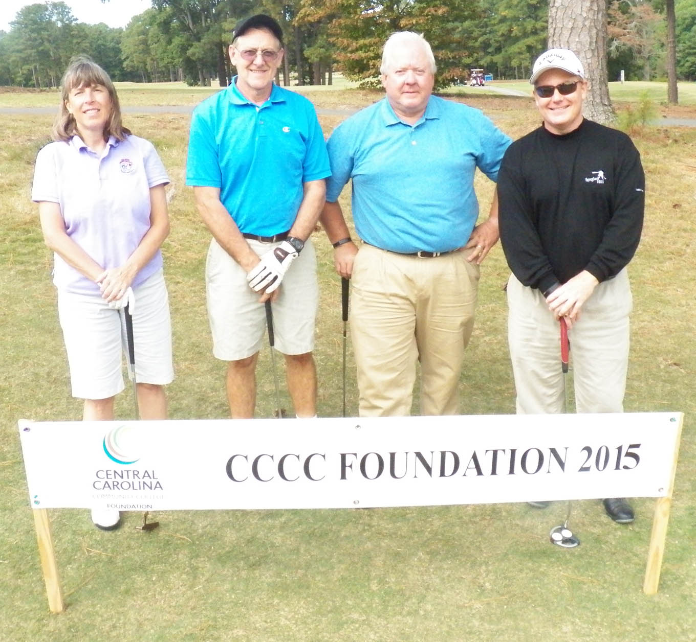Click to enlarge,  The team of Randy Fletcher, Dawn Rodgers, Mark Hundley, and Tony Quick tied for first in the third flight of the afternoon tournament of the CCCC Foundation Lee Golf Classic.