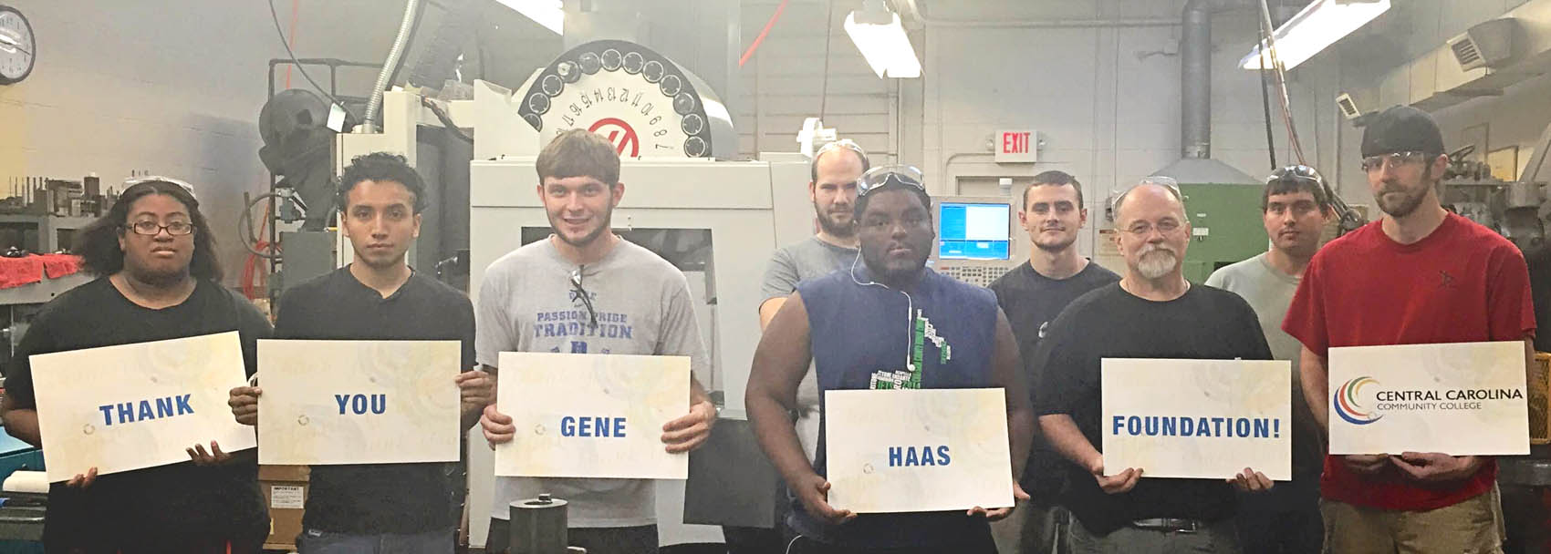 Click to enlarge,  Students in Central Carolina Community College's Computer Integrated Machining program show their thanks to the Gene Haas Foundation for providing $20,000 in scholarship support to the program.
