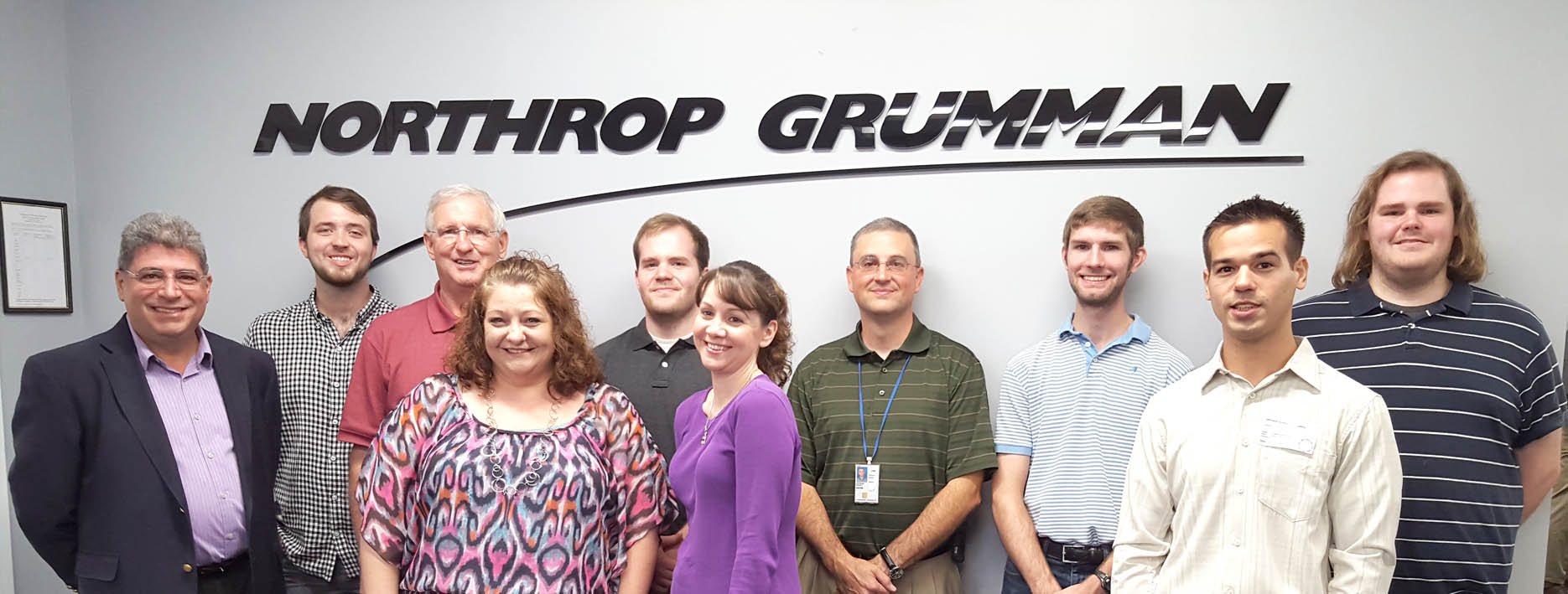 Click to enlarge,  Touring Synoptics, a division of Northrop Grumman, were, left to right: Dr. Chrys Panayiotou, David Pope, Gary Beasley, Katie Hall, Jeremiah Roberts, Angela Humphries, Dr. Kevin Stevens, Nathanael Turley, Thomas Martin, and Joshua Roberts.