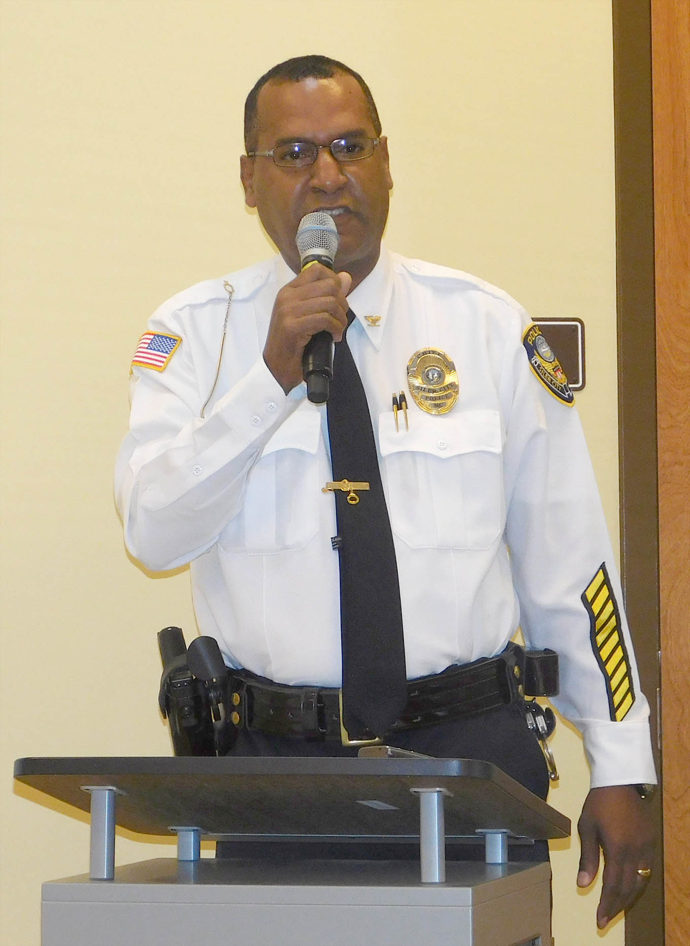 "Click to enlarge,  Siler City Police Chief Gary T. Tyson, U.S. Marines veteran, was guest speaker at the Veterans Day program, ""Celebrating American Heroes,"" on Nov. 4 at Central Carolina Community College's Siler City Center."