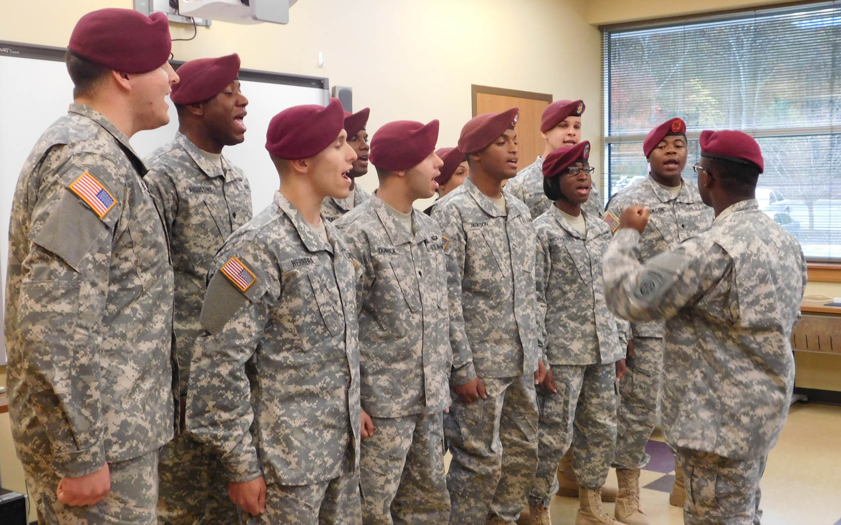 "Click to enlarge,  The 82nd Airborne Division's All-American Chorus provided special music for the Veterans Day program, ""Celebrating American Heroes,"" on Nov. 4 at Central Carolina Community College's Siler City Center."