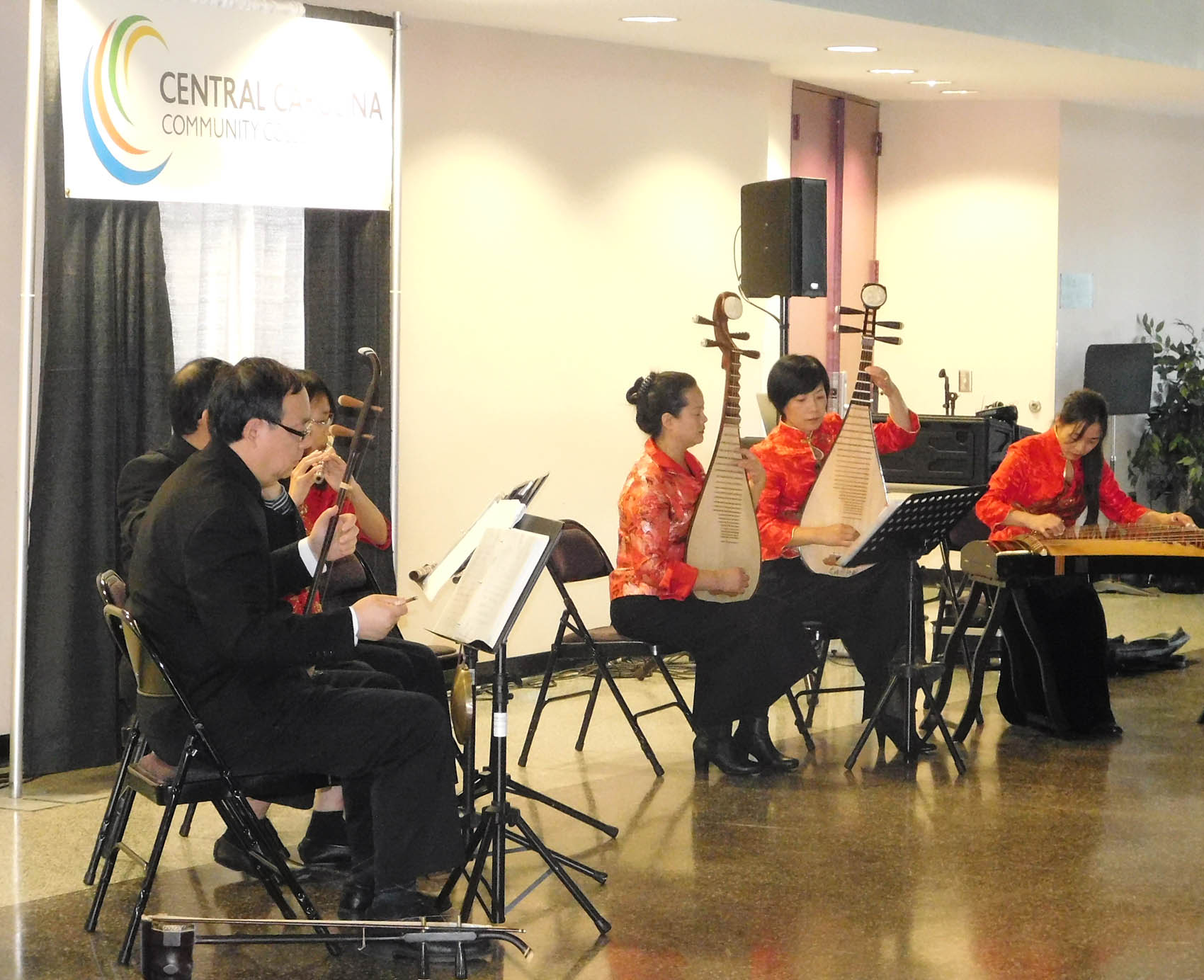 Click to enlarge,  Musicians from the NC-RTP Chinese Music Ensemble performed traditional songs as part of the Chinese Art Exhibition held Sunday, Nov. 15, at the Dennis Wicker Civic Center.