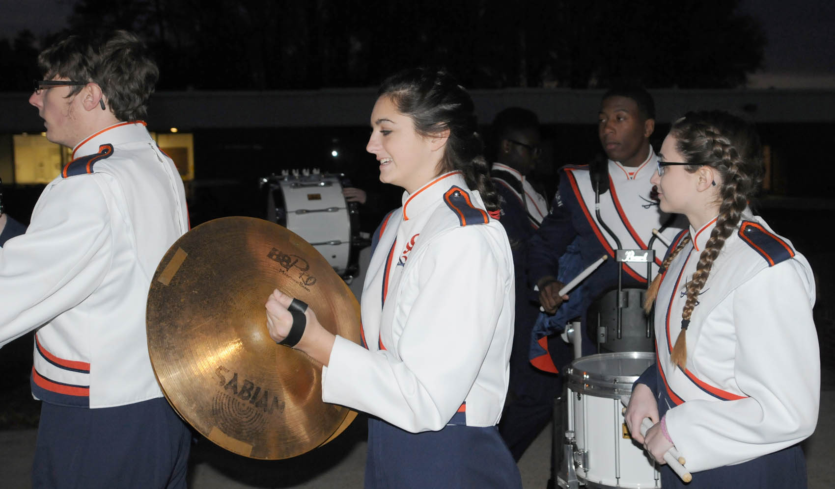 Click to enlarge,  The Southern Lee High School Marching Band participated in the Central Carolina Community College Christmas Tree Lighting celebration.