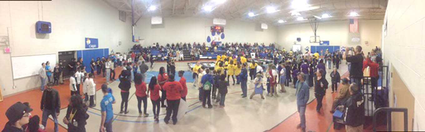 Click to enlarge,  Approximately 300 people (teams, volunteers, and spectators) recently attended the NC FIRST(R) LEGO(R) League qualifying tournament at Central Carolina Community College.  (Photo by Cheyenne Crowe-Gordon)