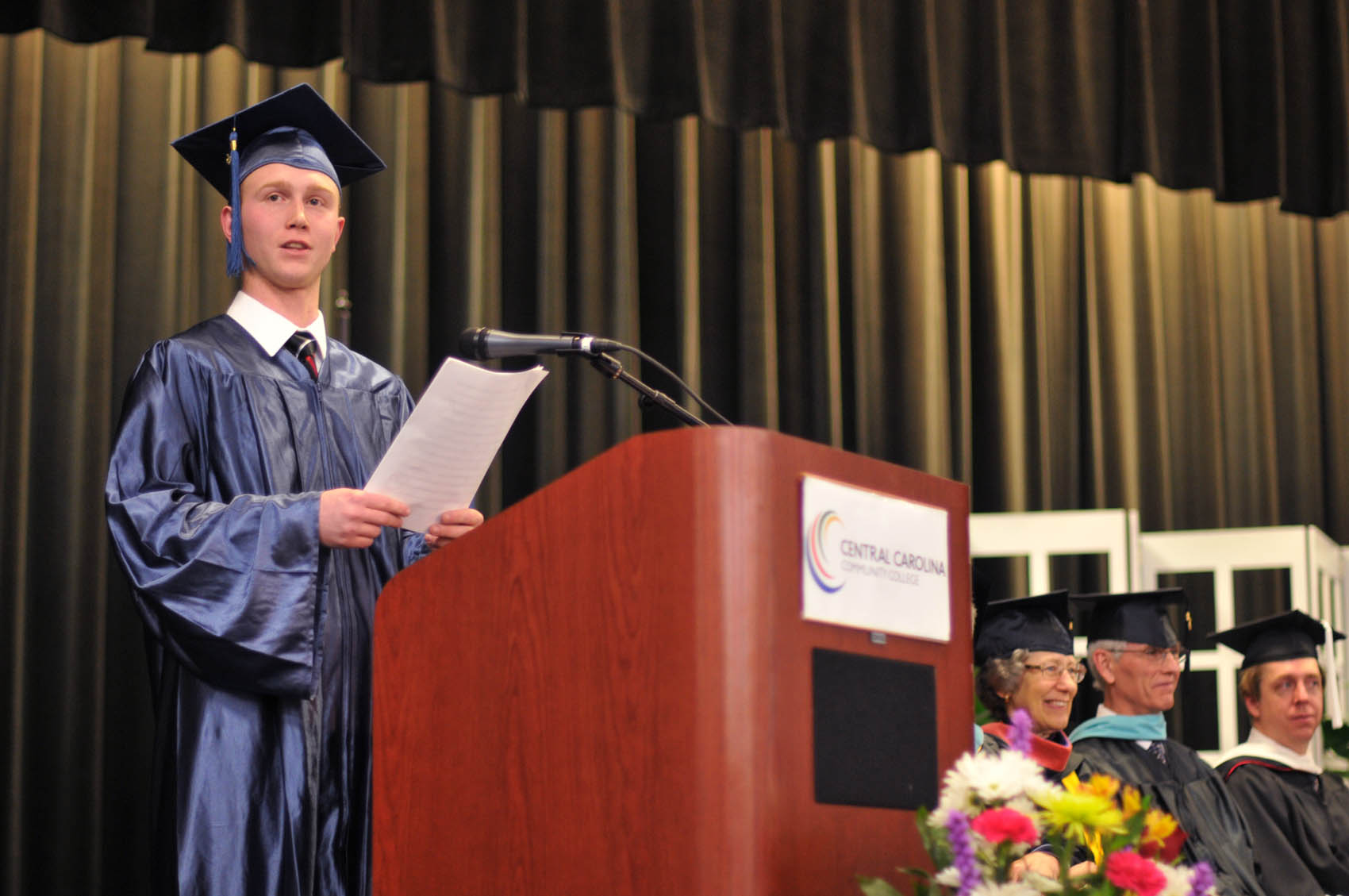 Click to enlarge,  James Dillon Locklear, a Lee County graduate, was one of the commencement student speakers at Central Carolina Community College's College and Career Readiness Commencement Exercises on Feb. 1.