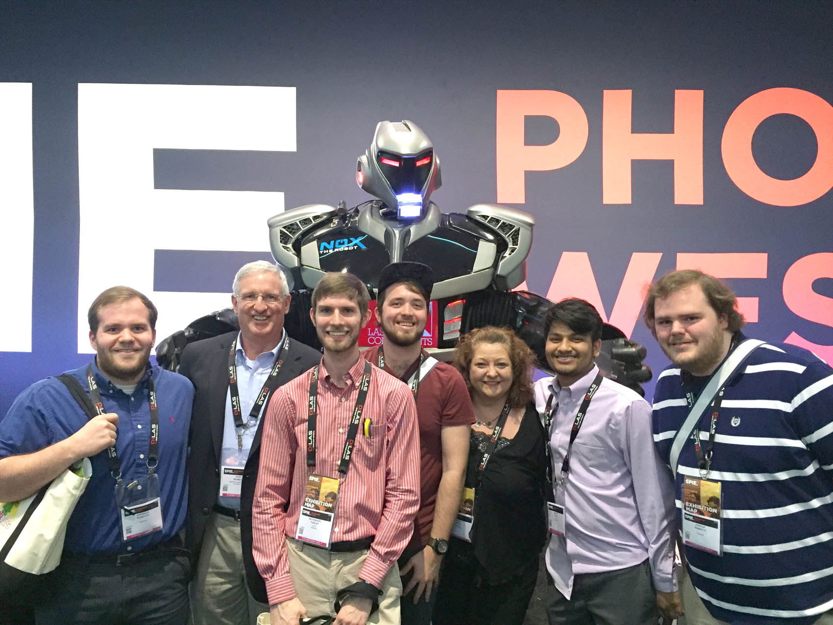 Click to enlarge,  Second-year students in the Laser and Photonics Technology program at Central Carolina Community College's Harnett Campus attended the 2016 SPIE Photonics West Convention in San Francisco. Pictured are, left to right: Jeremiah Roberts, Gary Beasley (lead instructor), Nathanael Turley, David Pope, Katie Hall, Nishal Patel, and Joshua Roberts.