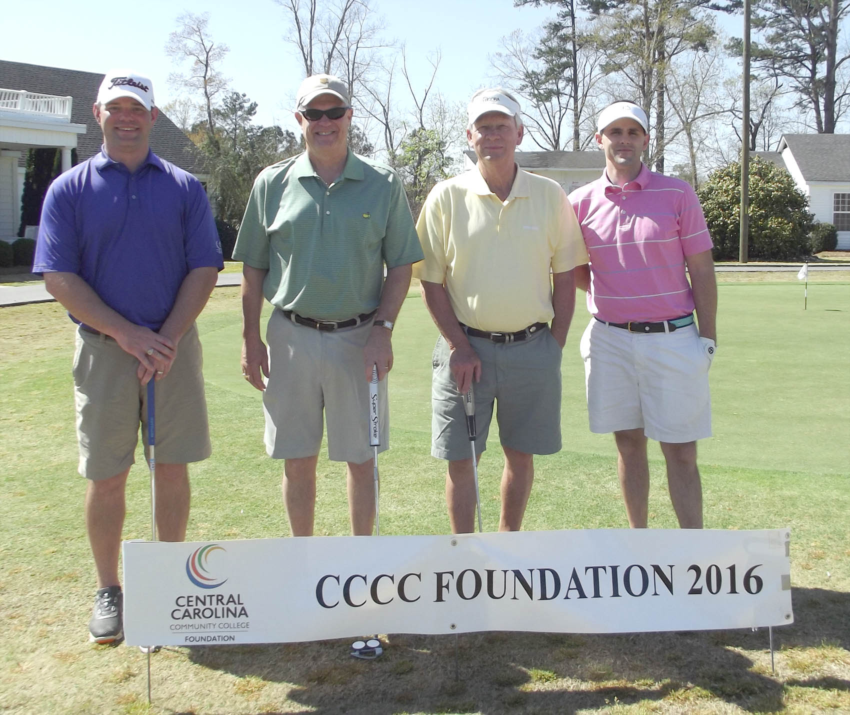 Click to enlarge,  Members of the second flight winning team in the third Central Carolina Community College Foundation Harnett Golf Classic were David Foushee, Travis Bailey, Justin Gaines, and Phil Bradley. For information about the Foundation, donating to it, establishing a scholarship, or other fund-raising events, contact Emily Hare, executive director of the CCCC Foundation, 919-718-7230. Information is also available at the CCCC Foundation website, www.cccc.edu/foundation.