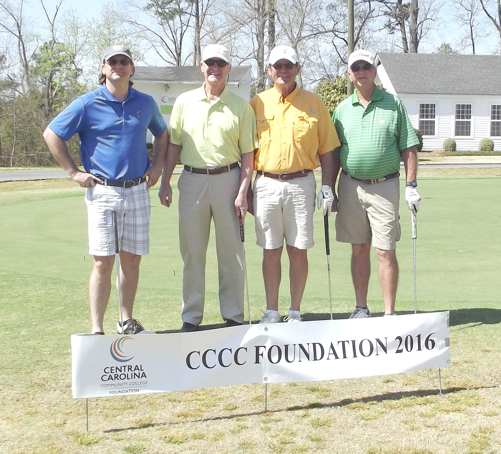 Click to enlarge,  Members of the third flight winning team in the third Central Carolina Community College Foundation Harnett Golf Classic were Bob Womble, Badget Womble, George Womble, and Jimmy Coleman. For information about the Foundation, donating to it, establishing a scholarship, or other fund-raising events, contact Emily Hare, executive director of the CCCC Foundation, 919-718-7230, or ehare@cccc.edu. Information is also available at the CCCC Foundation website, www.cccc.edu/foundation.
