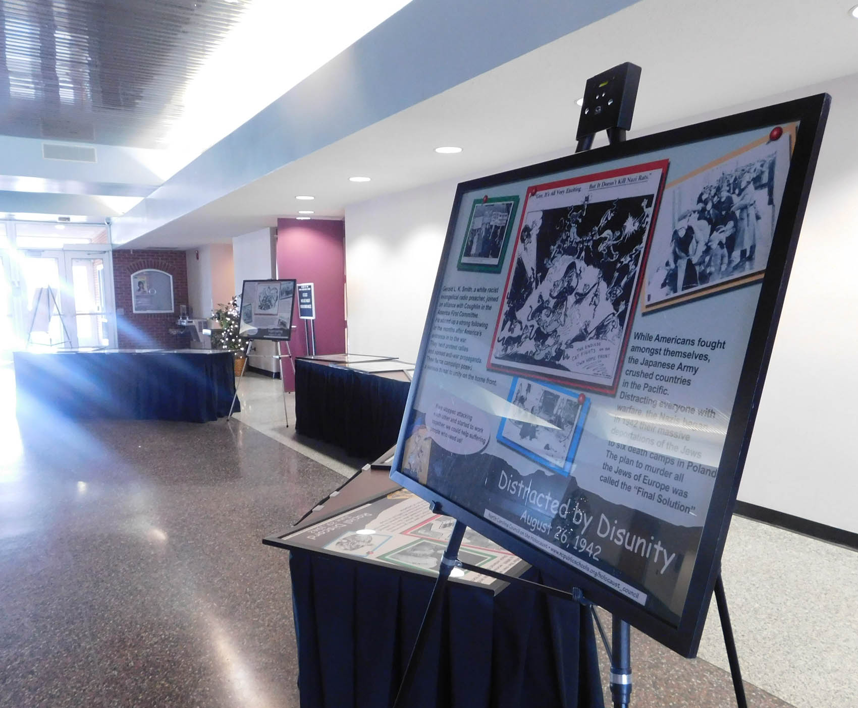 "Click to enlarge,  The traveling exhibit ""Dr. Seuss Wants You!: The Political Cartoons of Dr. Seuss, 1941-1942"" was on display during Central Carolina Community College's Third Annual Holocaust Remembrance Event held at the Dennis A. Wicker Civic Center."