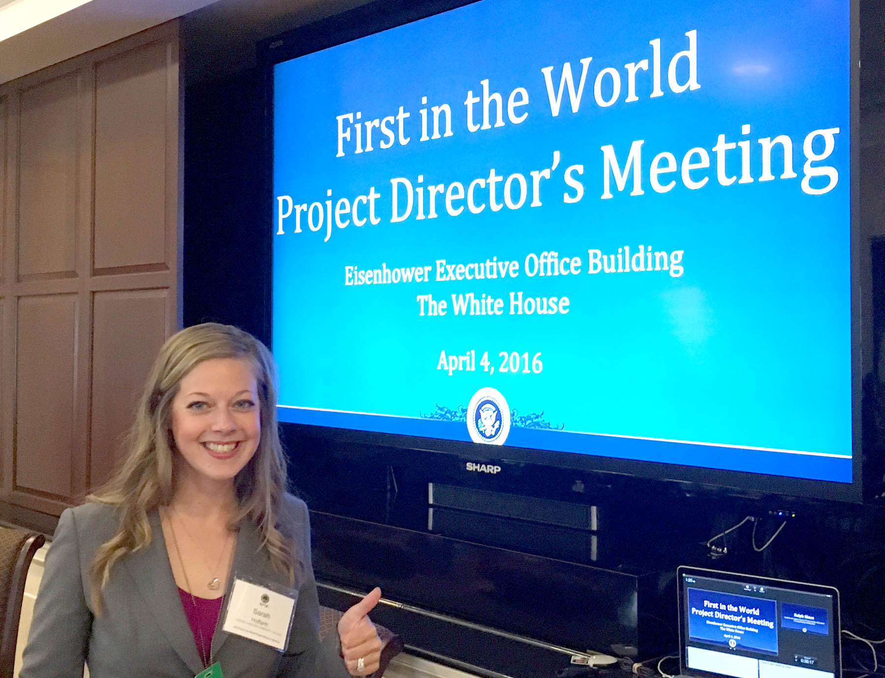 Click to enlarge,  CCCC First in the World project co-director Sarah Hoffarth visited the White House and the Department of Education on April 4-5.