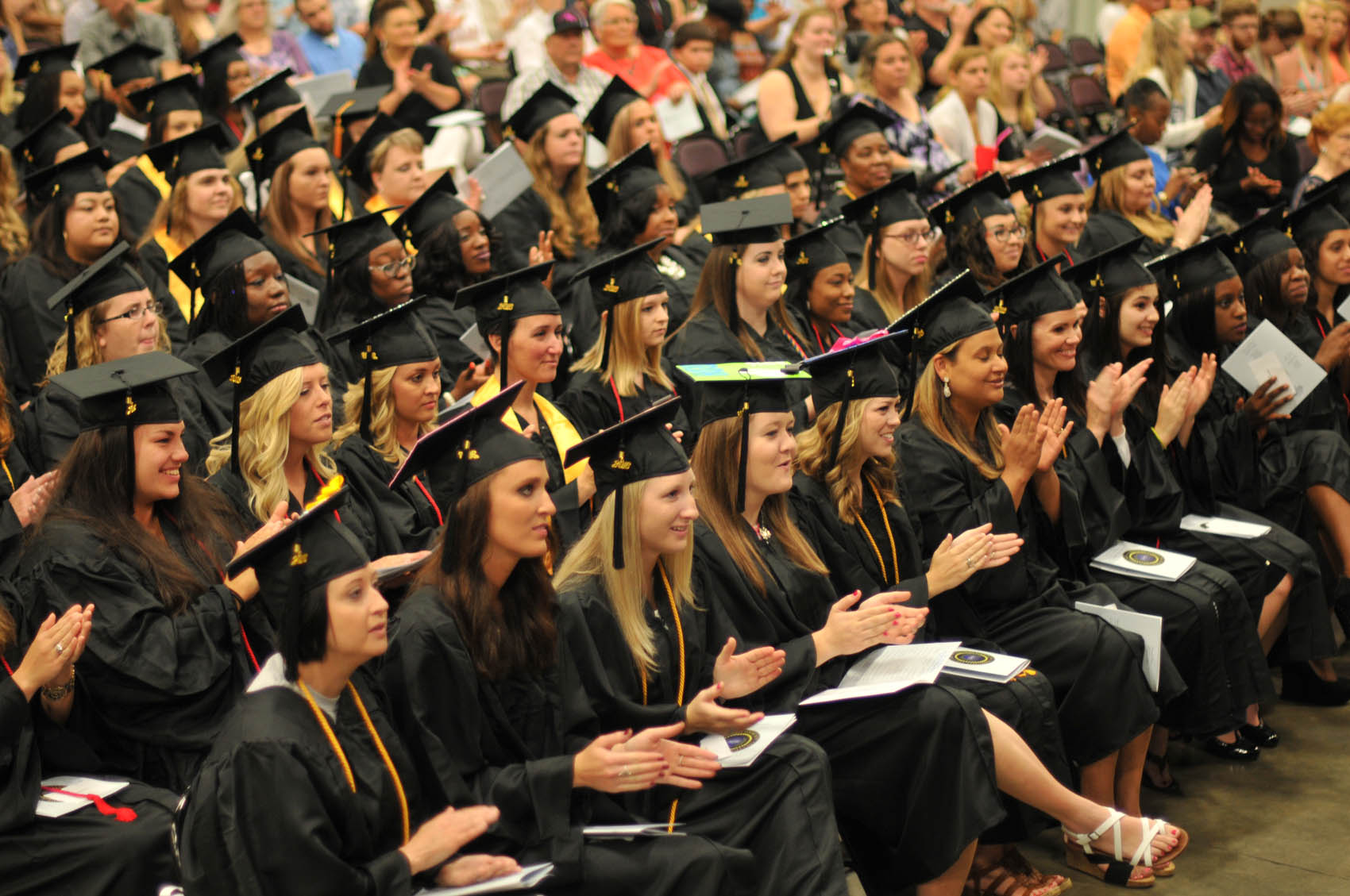 Click to enlarge,  There are approximately 800 members of the Class of 2016 at Central Carolina Community College. Commencement exercises were held on May 12 at the Dennis A. Wicker Civic Center in Sanford.