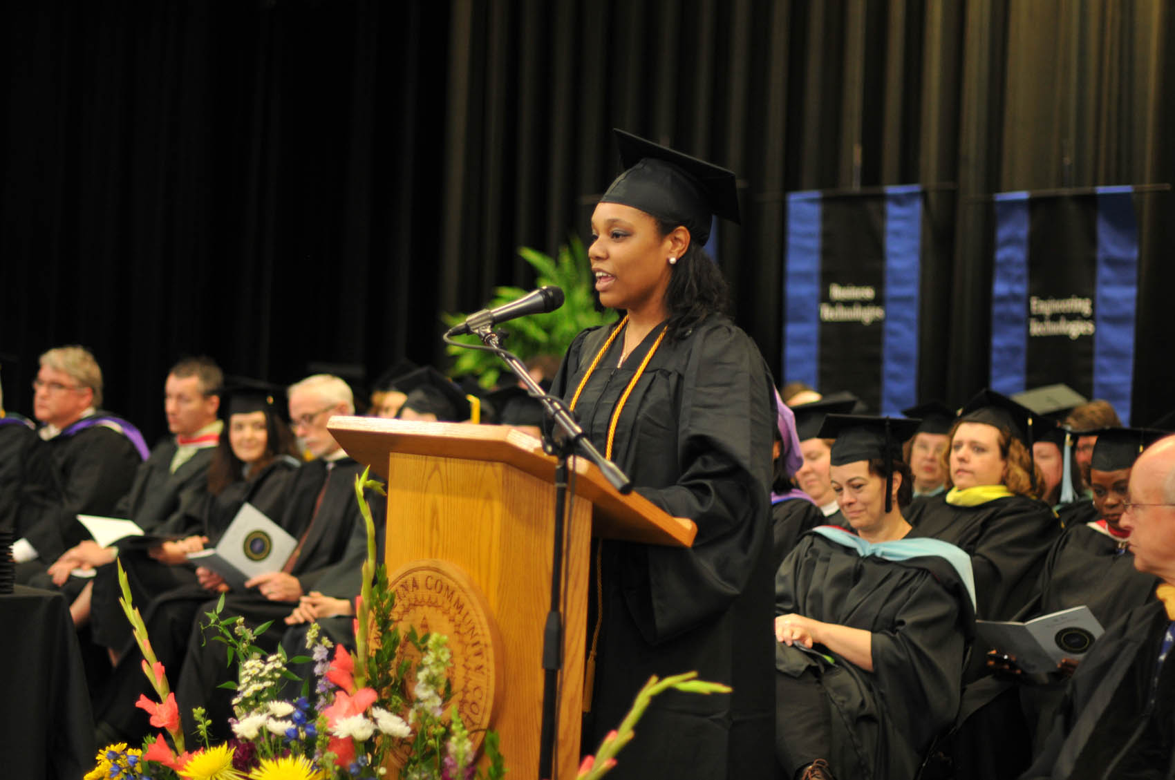 Click to enlarge,  Octavia Brown, a graduate of the Dental Hygiene program, was the student speaker at the Central Carolina Community College 9 a.m. commencement exercises held on May 12 at the Dennis A. Wicker Civic Center in Sanford.