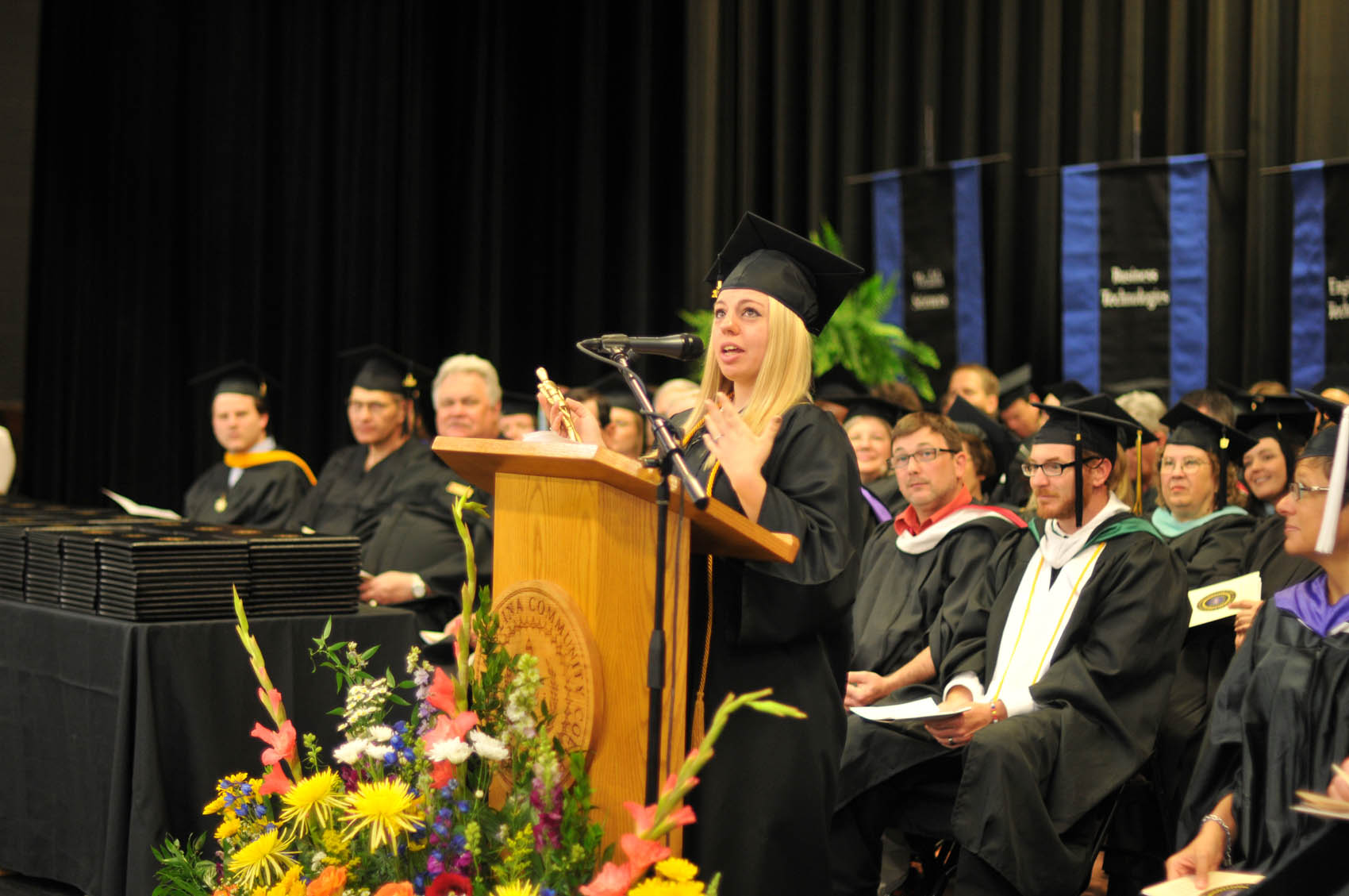 Click to enlarge,  Jackie Desmarais, who received the Associate in Arts degree, was the student speaker at the Central Carolina Community College 11:30 a.m. commencement exercises held on May 12 at the Dennis A. Wicker Civic Center.