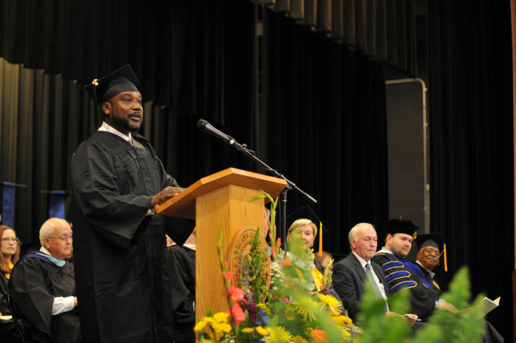 Click to enlarge,  Chriss Harvin, a graduate of the Industrial Systems Technology program, was the student speaker at the Central Carolina Community College 3 p.m. commencement exercises held on May 12 at the Dennis A. Wicker Civic Center in Sanford.