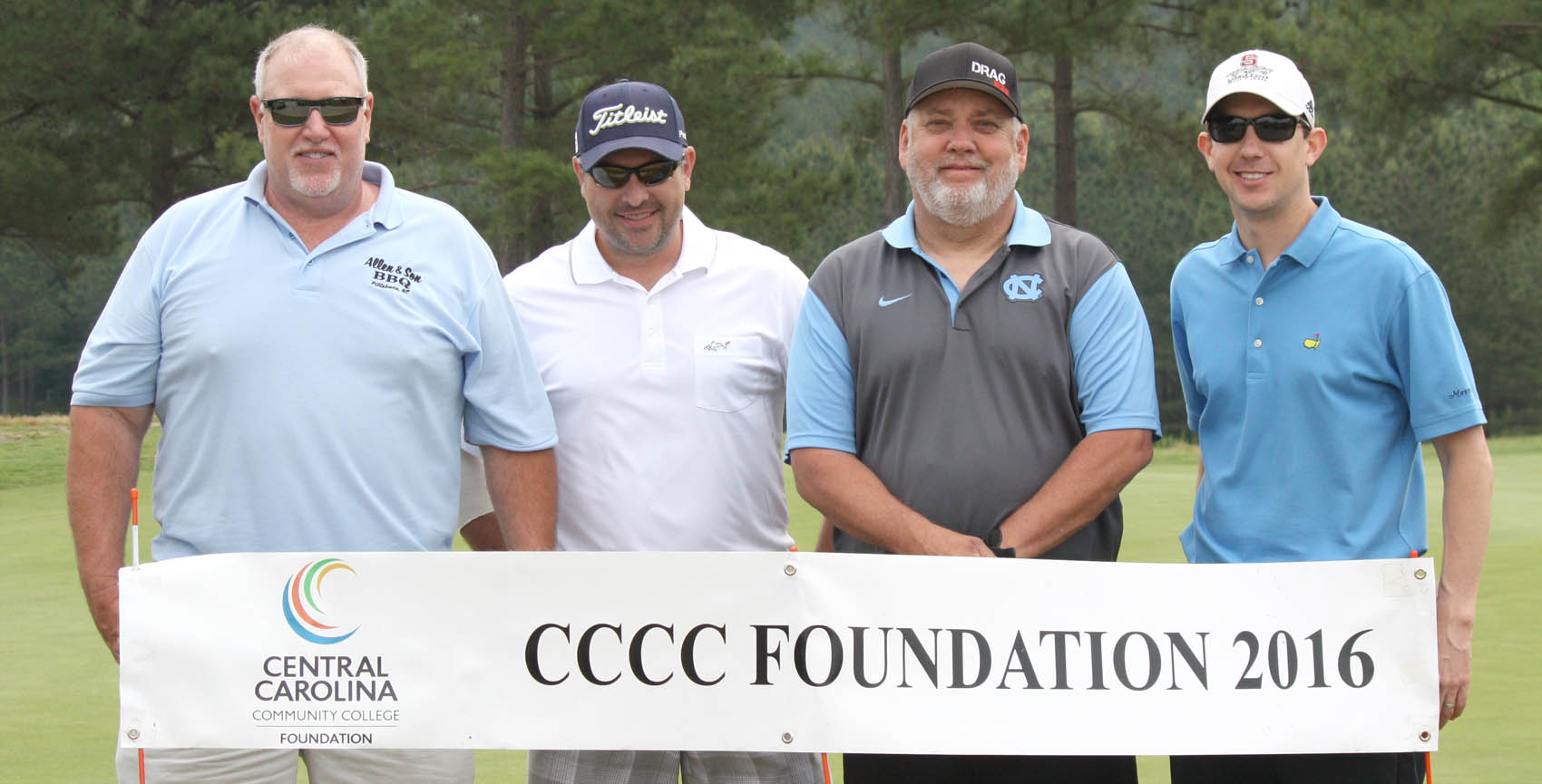 Click to enlarge,  Members of the second flight winning team in the Central Carolina Community College Foundation Chatham Golf Classic were Lee Shanklin, Bob Harris, Steve Womble, and Jimmy Stubbs. For information about the Foundation, donating to it, establishing a scholarship, or other fund-raising events, contact Emily Hare, executive director of the CCCC Foundation, 919-718-7230, or ehare@cccc.edu. Information is also available at its website, www.cccc.edu/foundation.