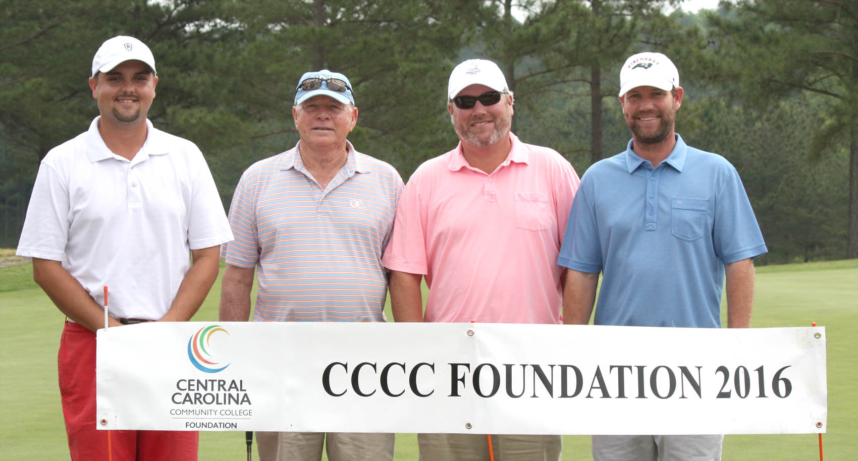 Click to enlarge,  Members of the first flight winning team in the Central Carolina Community College Foundation Chatham Golf Classic were Bobby Powell, David Wicker, Jack Radley, and Andy Phillips. For information about the Foundation, donating to it, establishing a scholarship, or other fund-raising events, contact Emily Hare, executive director of the CCCC Foundation, 919-718-7230, or ehare@cccc.edu. Information is also available at its website, www.cccc.edu/foundation.