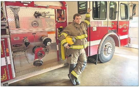 Click to enlarge,  Hannah Hunsiner | The Sanford Herald. Tyler Kruger is in his first year and a half of being a volunteer firefighter for the Carolina Trace Fire Department.