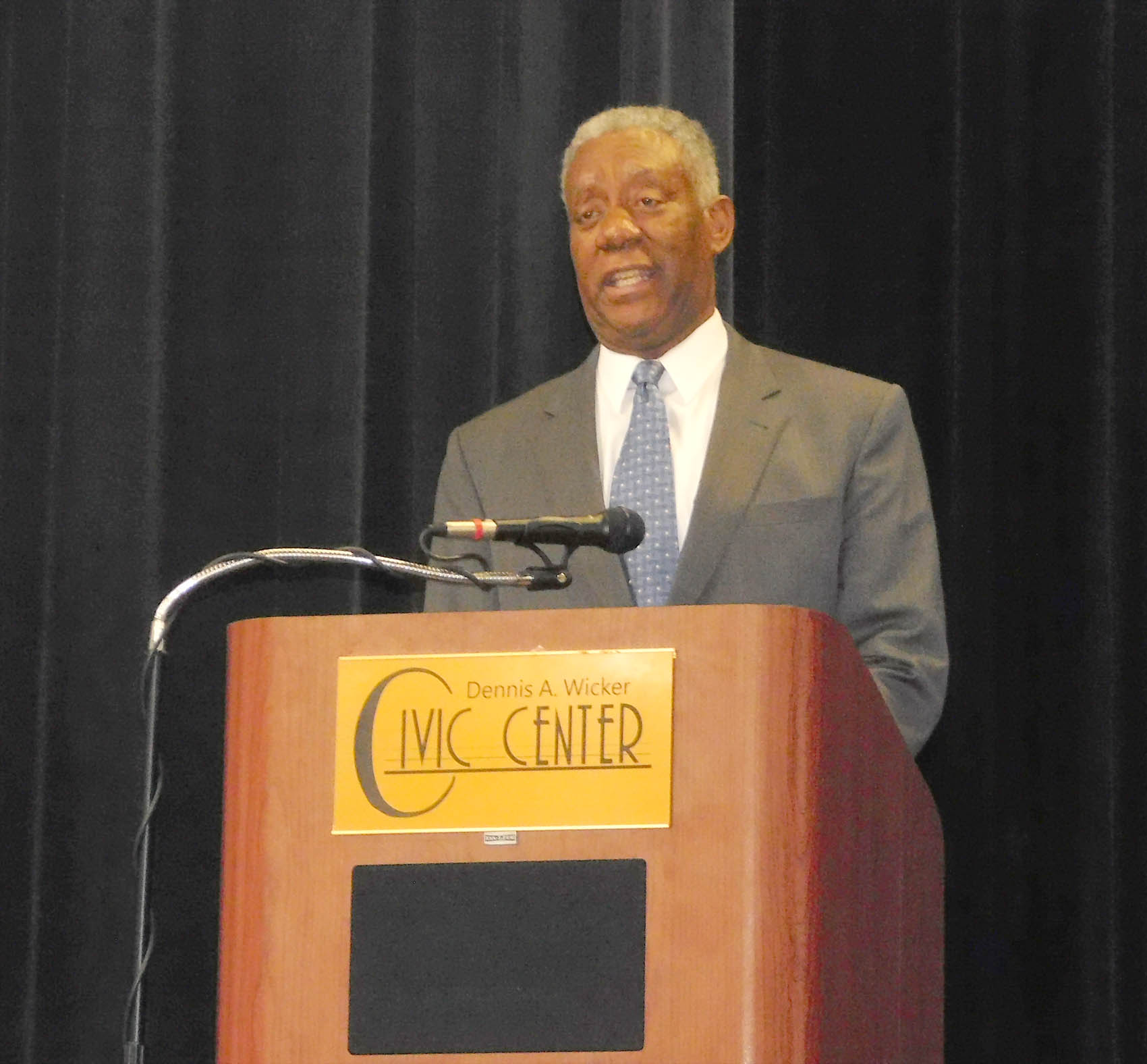 Click to enlarge,  Secretary Cornell A. Wilson, Jr., N.C. Department of Military and Veterans Affairs, Major General, USMC (Ret.), welcomed the attendees at the NC STRIVE Conference on Wednesday, June 15, at the Dennis A. Wicker Civic Center in Sanford.