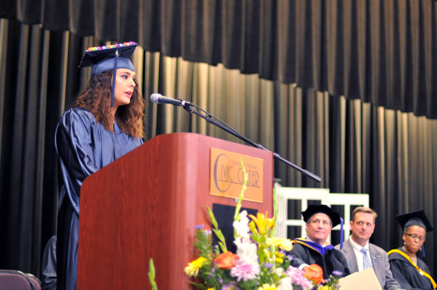 Click to enlarge,  Jordan Grace Hall, a Lee County graduate, was one of the commencement student speakers at Central Carolina Community College's College and Career Readiness Commencement Exercises on June 16.