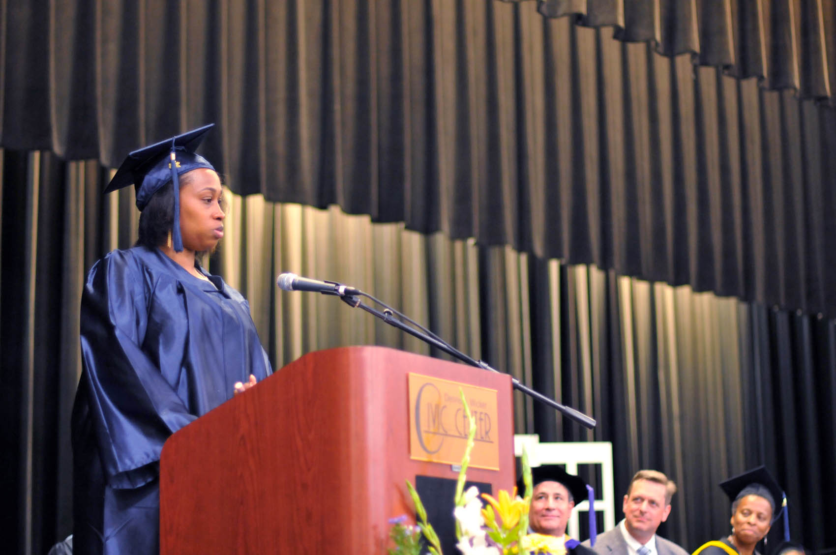 Click to enlarge,  Iesha Shakur-Bey Moore, a Chatham County graduate, was one of the commencement student speakers at Central Carolina Community College's College and Career Readiness Commencement Exercises on June 16.
