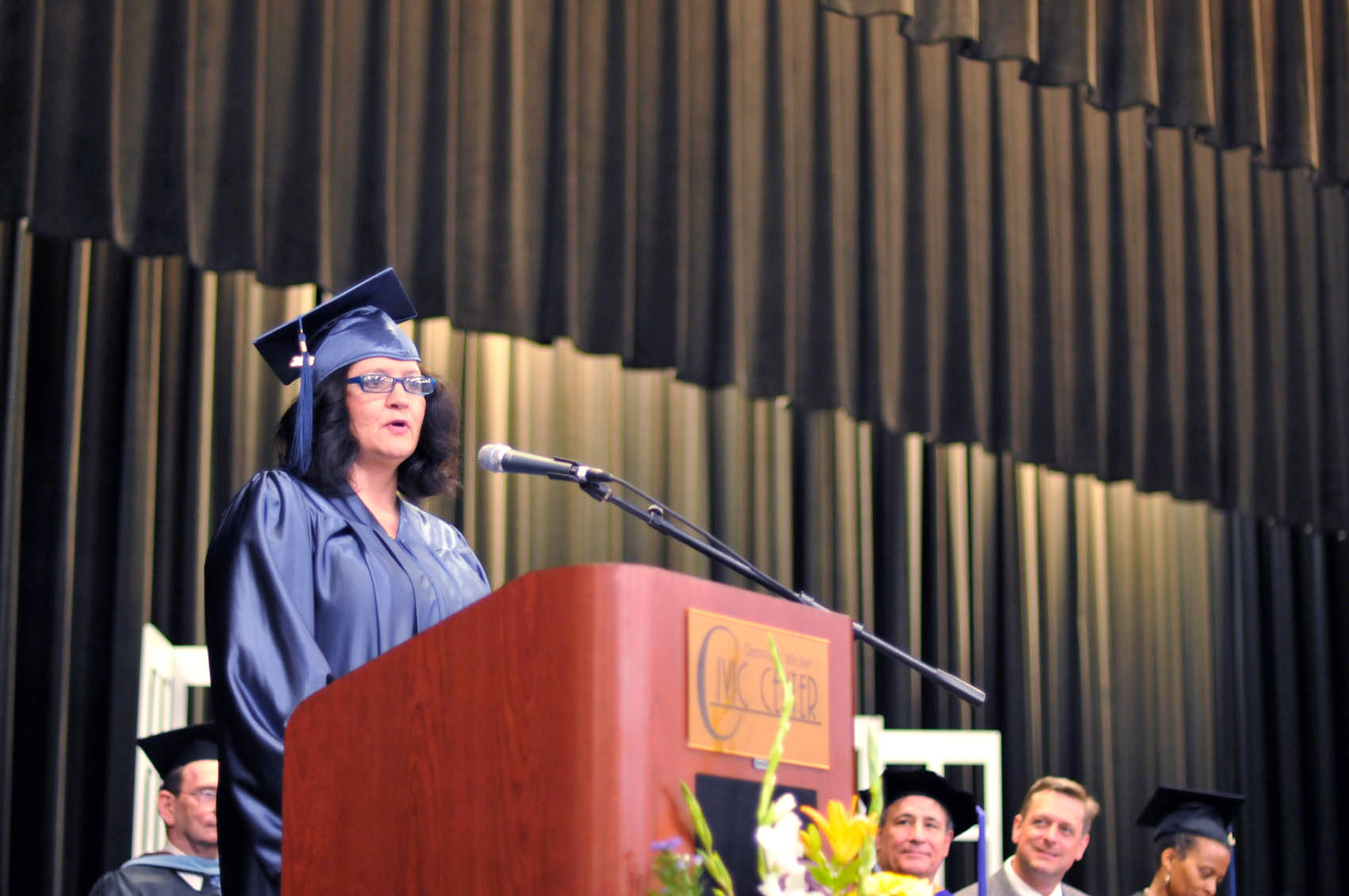 Click to enlarge,  Sheila Richardson, a Harnett County graduate, was one of the commencement student speakers at Central Carolina Community College's College and Career Readiness Commencement Exercises on June 16.