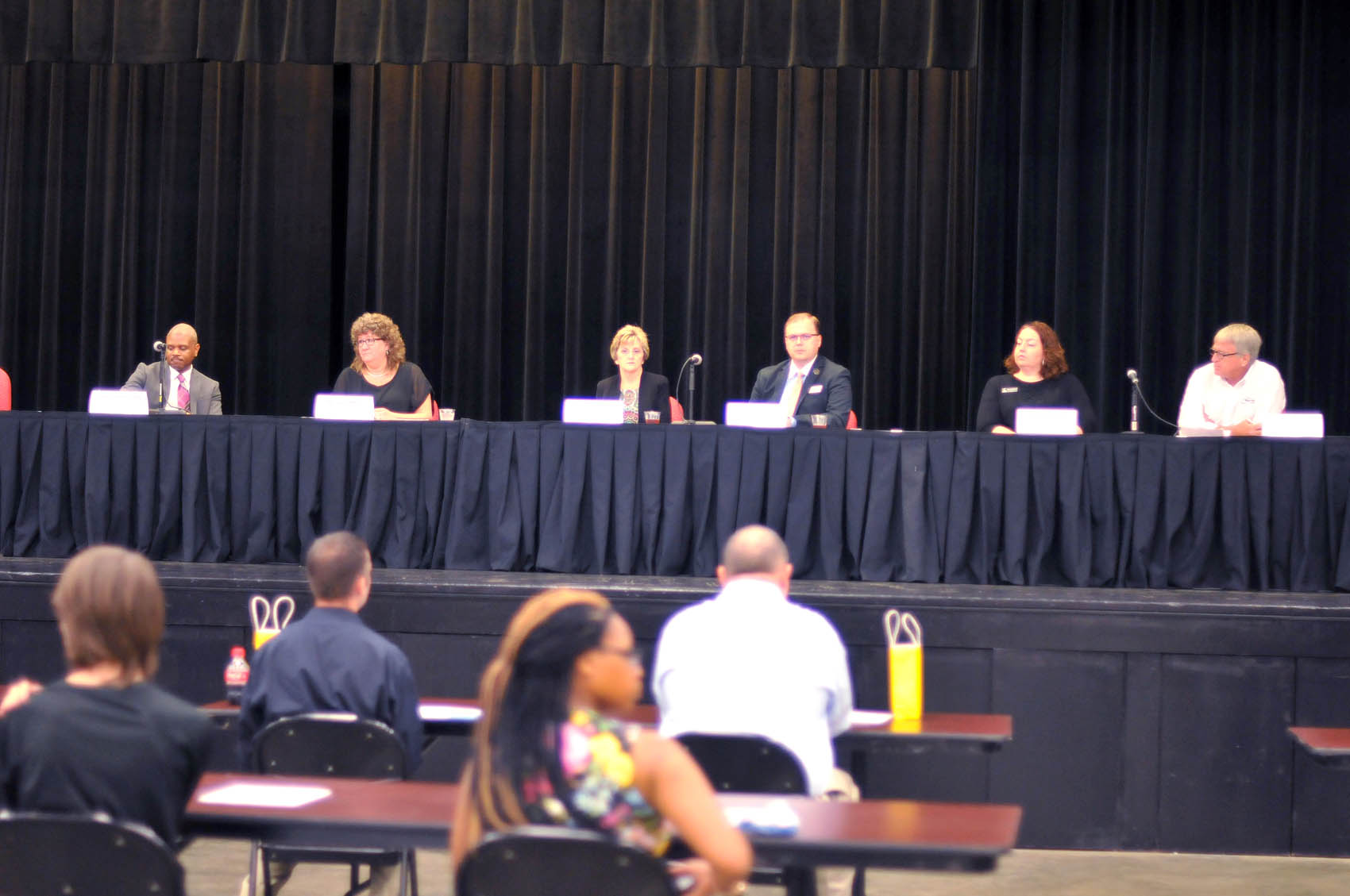 Click to enlarge,  Participants in a FutureWork Prosperity Tour 2016 panel discussion on Wednesday, June 22, included (left to right) Donnie Charleston, Economy Policy Manager, Institute for Emerging Issues; Amy Dalrymple, Chair, Lee County Board of Commissioners; Joyce D. McGehee, Human Resources Director, Lee County; Daniel Simmons, Chief Professional Officer, Boys & Girls Club of Sanford/Lee County; Denise Martin, Program Director, CCCC Health Information Technology; and Jerry Pedley, President and Owner, Mertek Solutions Inc.