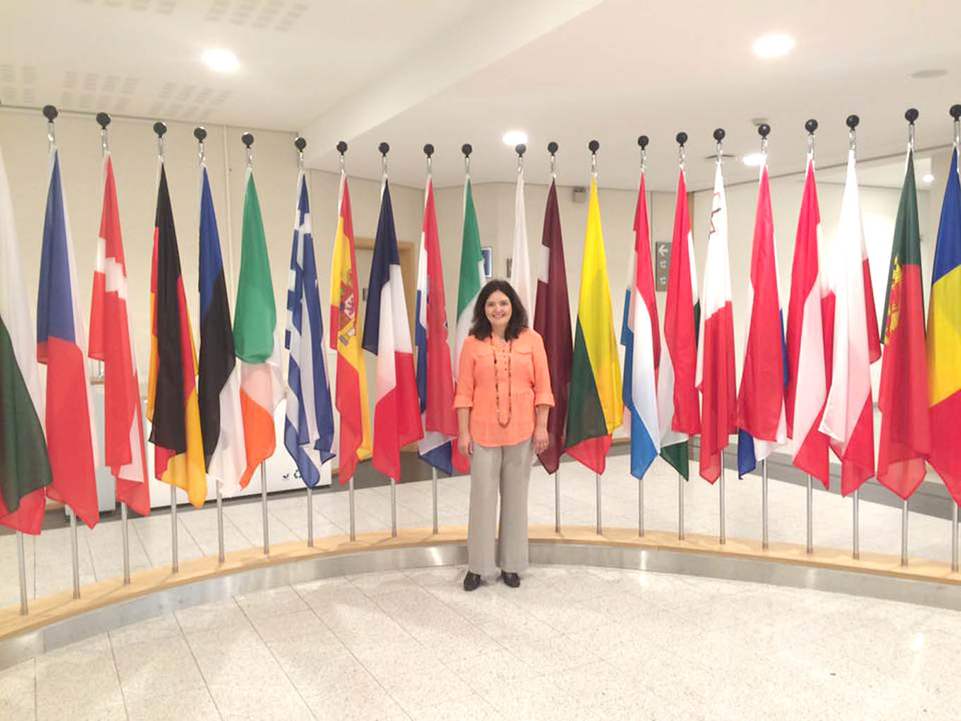 Click to enlarge,  Bianka Stumpf, a Central Carolina Community College world history instructor, is pictured at the European Union parliament in Brussels, Belgium.