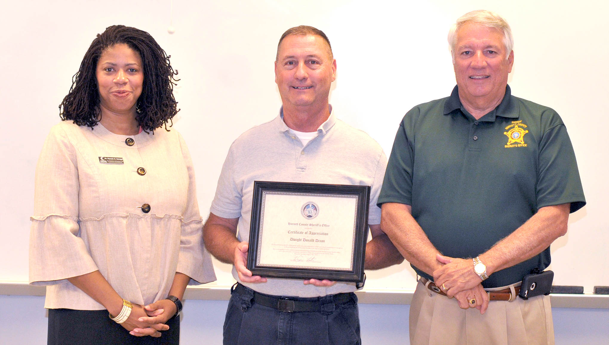 Read the full story, CCCC's Dixon receives salute from Harnett Sheriff's Office