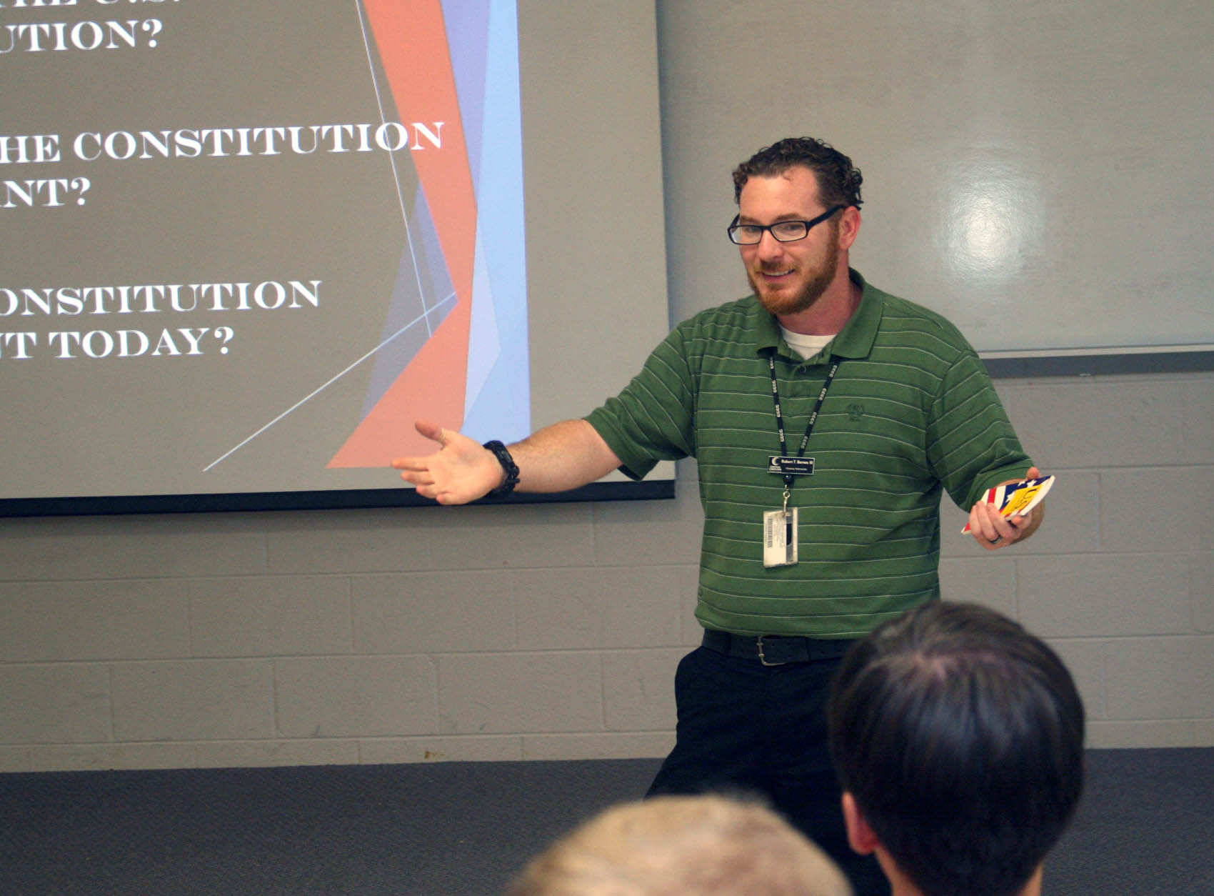 Click to enlarge,  'The U.S. Constitution: What Is It? Why Is It Important?' was the subject of lectures recently presented by Robert Barnes, Central Carolina Community College history instructor.