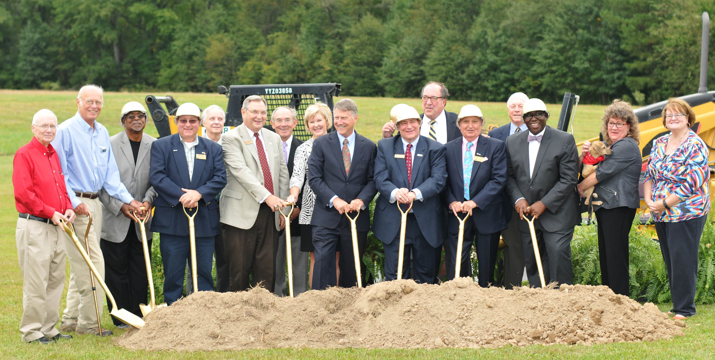 Click to enlarge,  Members of the Central Carolina Community College Board of Trustees join with former North Carolina Lt. Gov. Dennis Wicker and members of the Lee County Board of Commissioners for the groundbreaking ceremony for the four Central Carolina Community College bond projects that were approved by Lee County voters in November 2014.