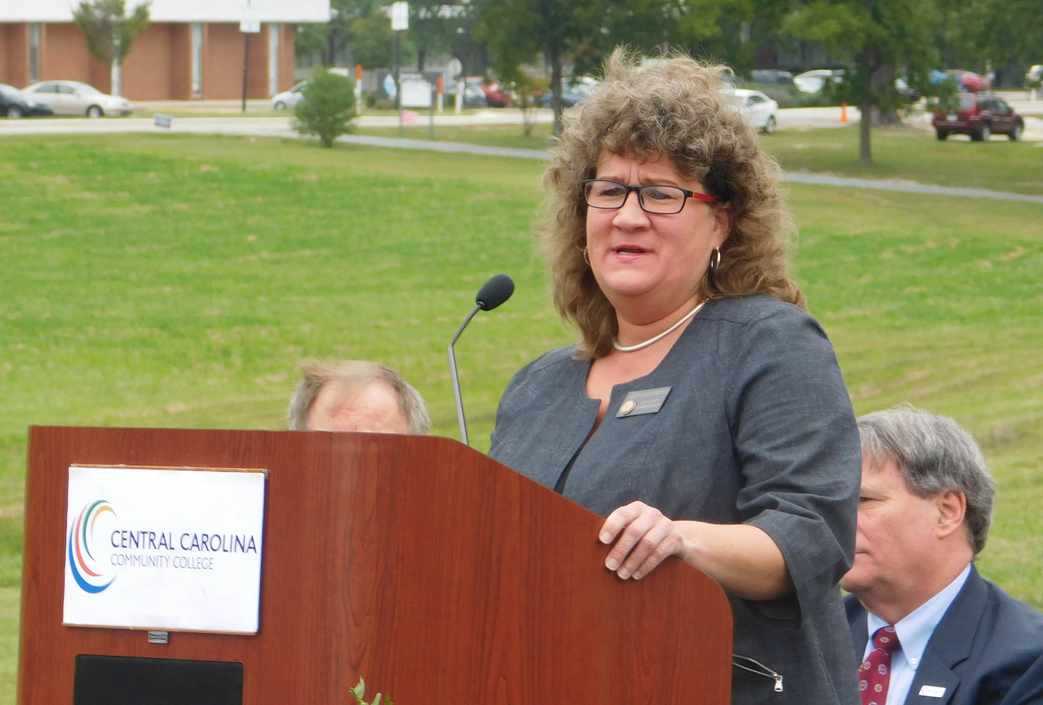 Click to enlarge,  Amy Dalrymple, Chair of the Lee County Board of Commissioners, told attendees at the college's groundbreaking ceremony on Oct. 6, 'On behalf of the Lee County Board of Commissioners, we are all excited to get this thing going.'