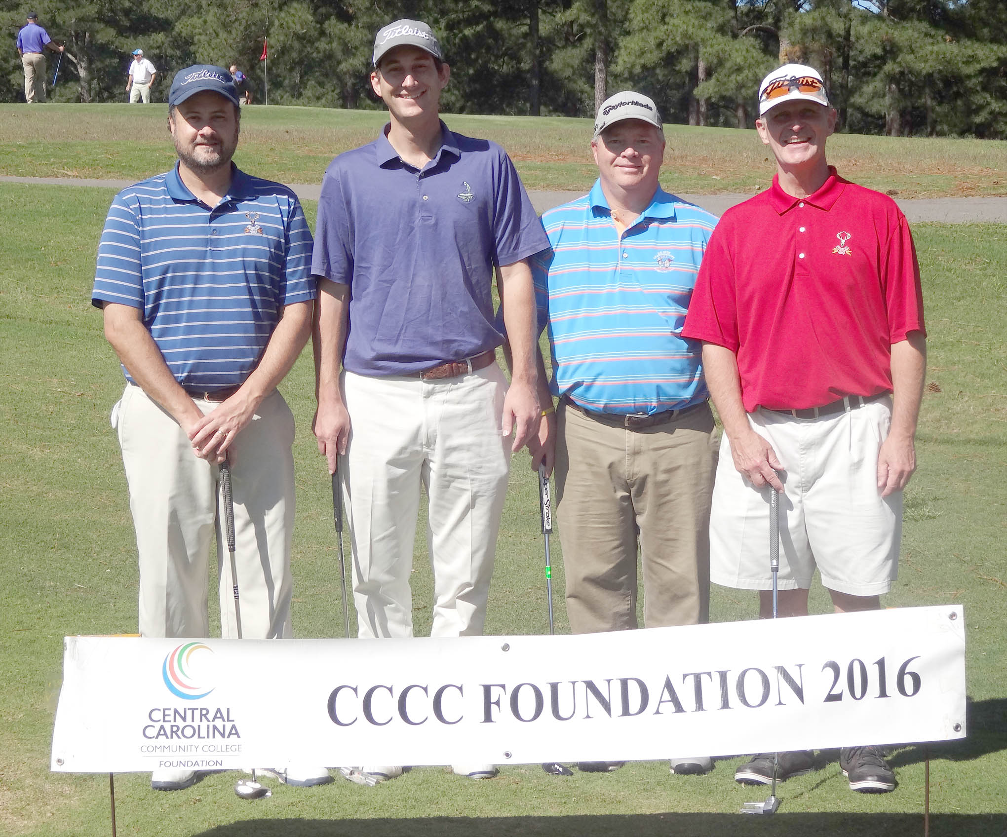 Click to enlarge,  The team of Alan Holt, Bill Kwasnick, Ron Minter, and Tom McSwain won the second flight of the morning tournament of the CCCC Foundation Lee Golf Classic.