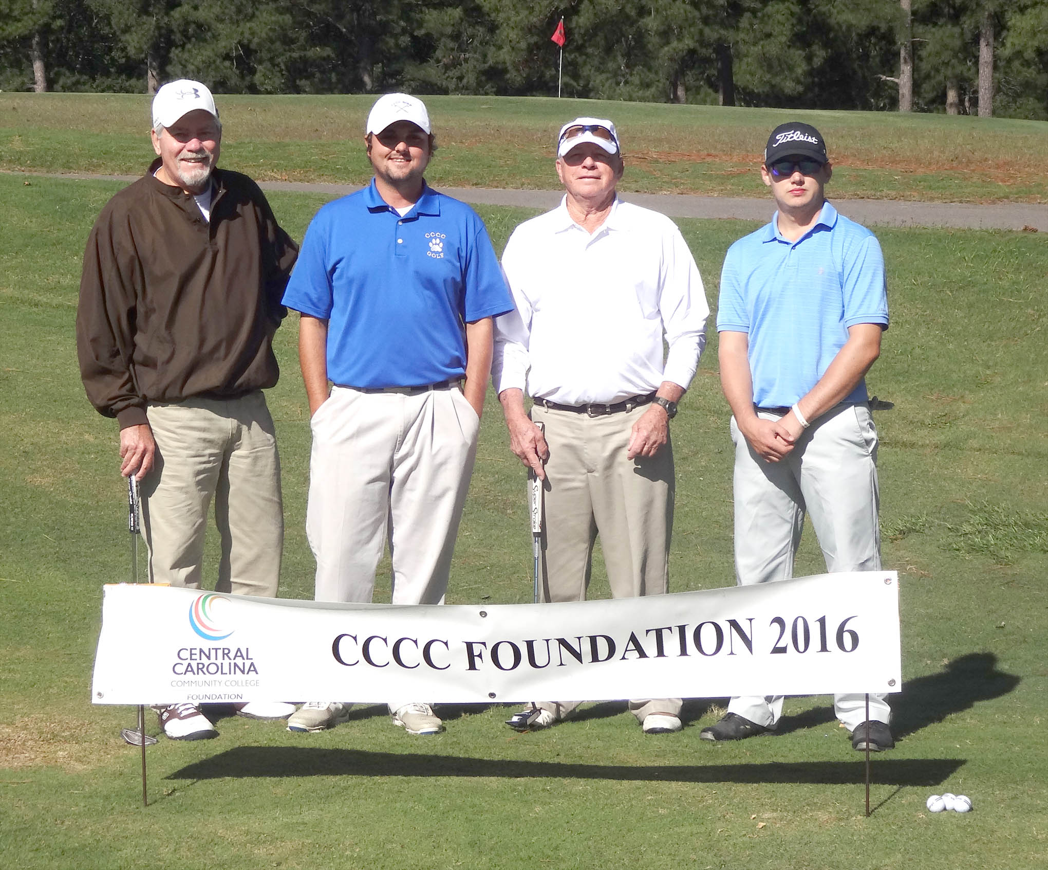 Click to enlarge,  The team of Dave Neff, Jack Radley, Bobby Powell, and Anthony Johnson won the first flight of the morning tournament of the CCCC Foundation Lee Golf Classic.