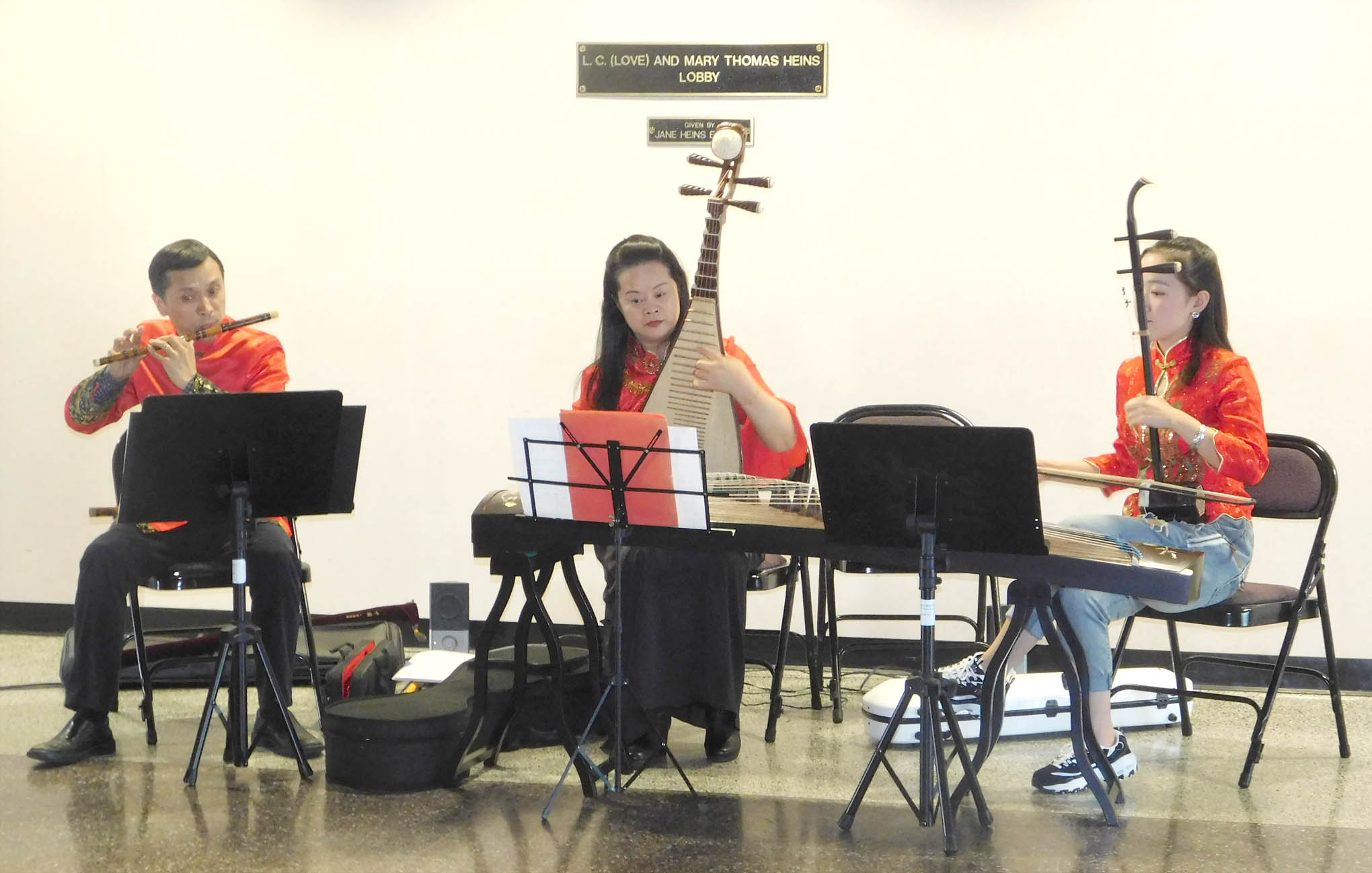 Click to enlarge,  The North Carolina-Research Triangle Park Chinese Music Instruments Ensemble provided music for the reception to honor new Central Carolina Community College Confucius Classroom Instructor Yuehan Ma.