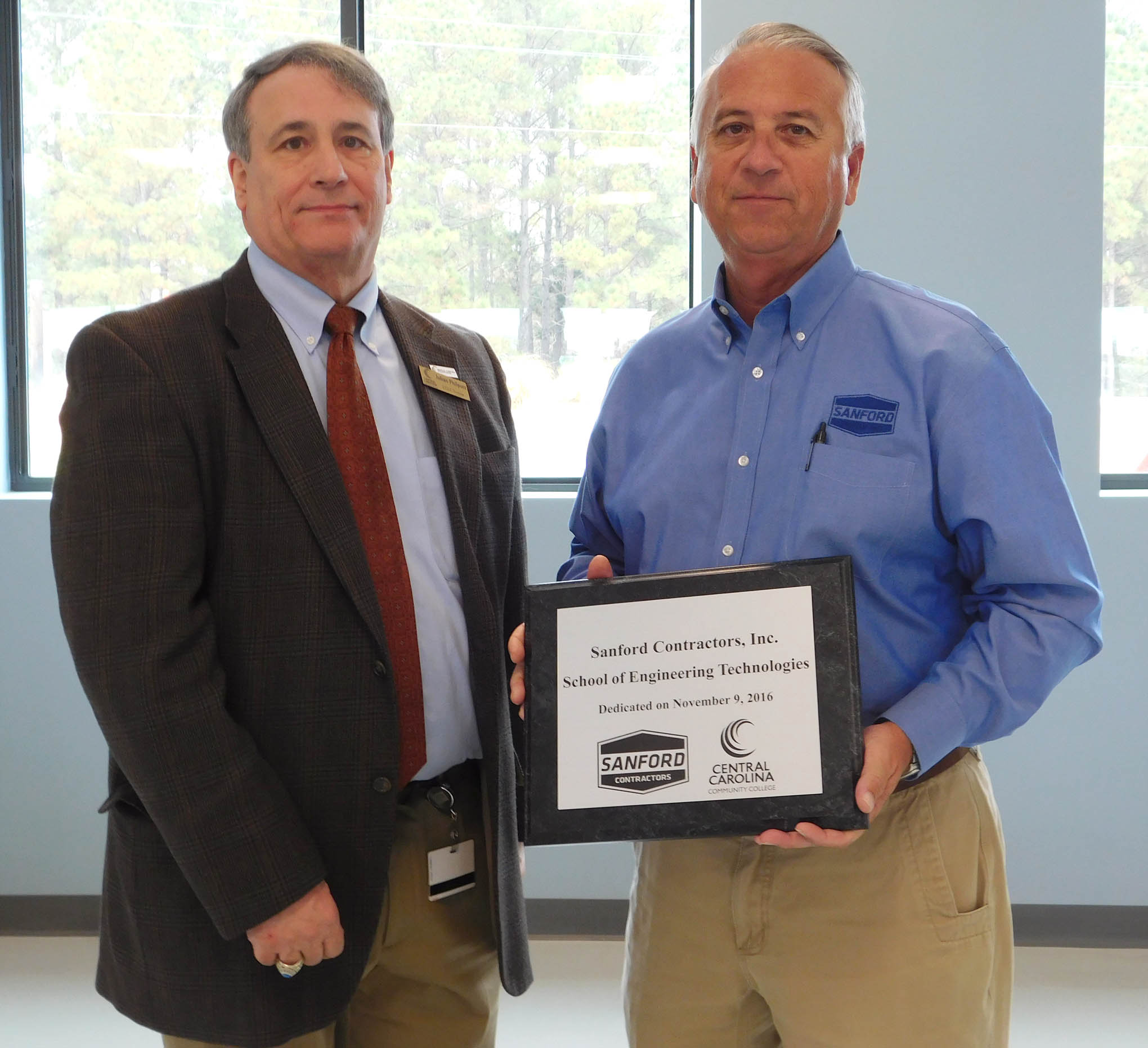 CCCC Engineering Technology Program named in honor of Sanford Contractors, Inc.
