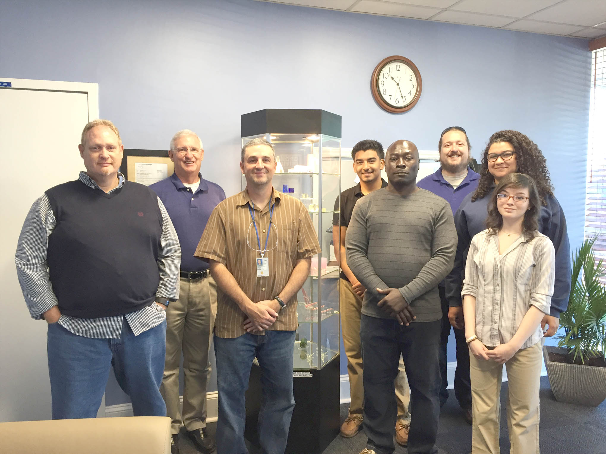 Click to enlarge,  Touring Synoptics, a division of Northrop Grumman, were, left to right: Scott Parker, Gary Beasley, Dr. Kevin Stevens, Antonio DePaz, Christopher Barnes, Cameron Childress, Kyla Ross, and Ruth Gietzen.