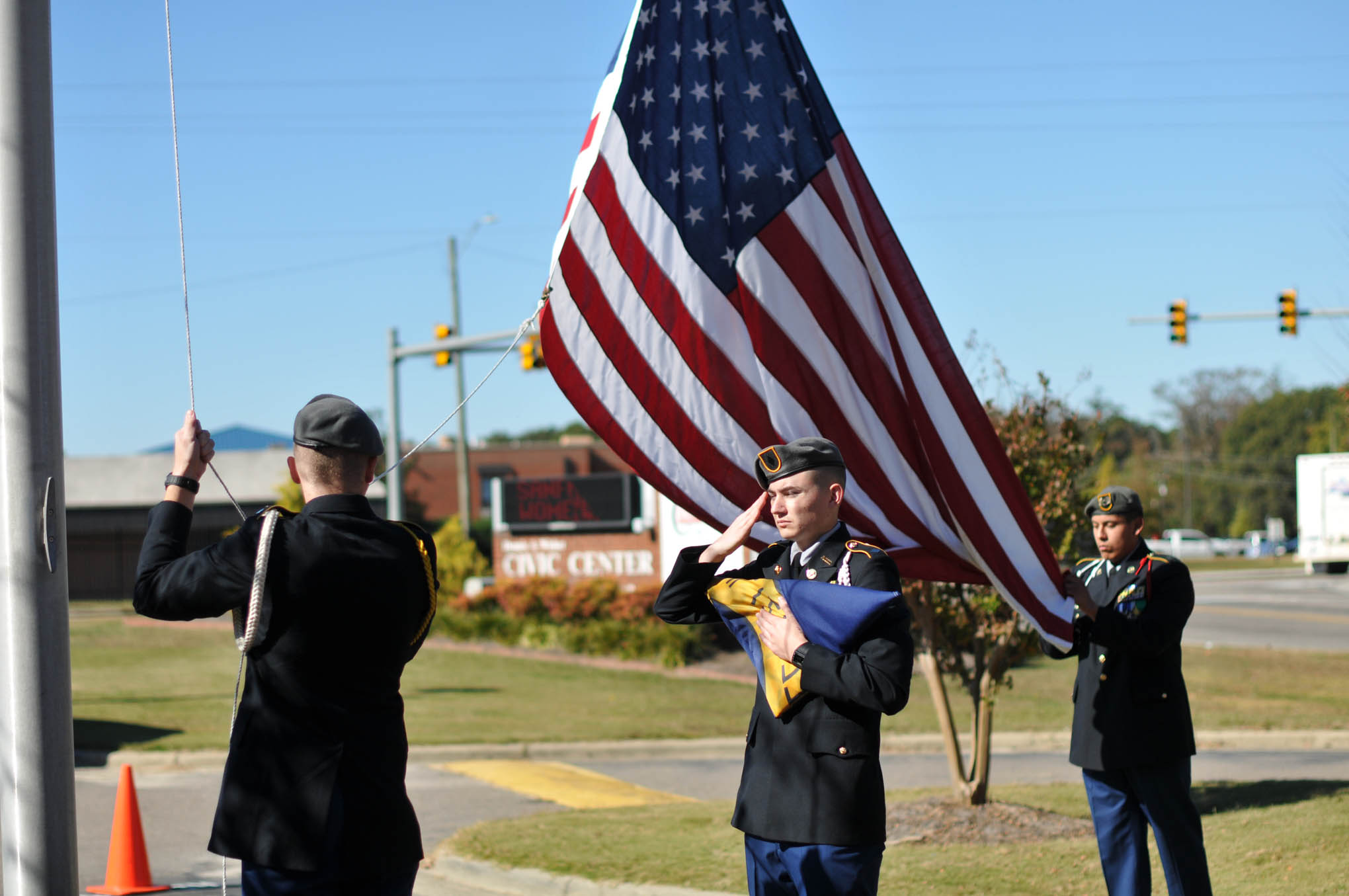 Click to enlarge,  Members of the Southern Lee High School JROTC program participate in the Veterans Day observance on Thursday, Nov. 10, at the Dennis A. Wicker Civic Center.