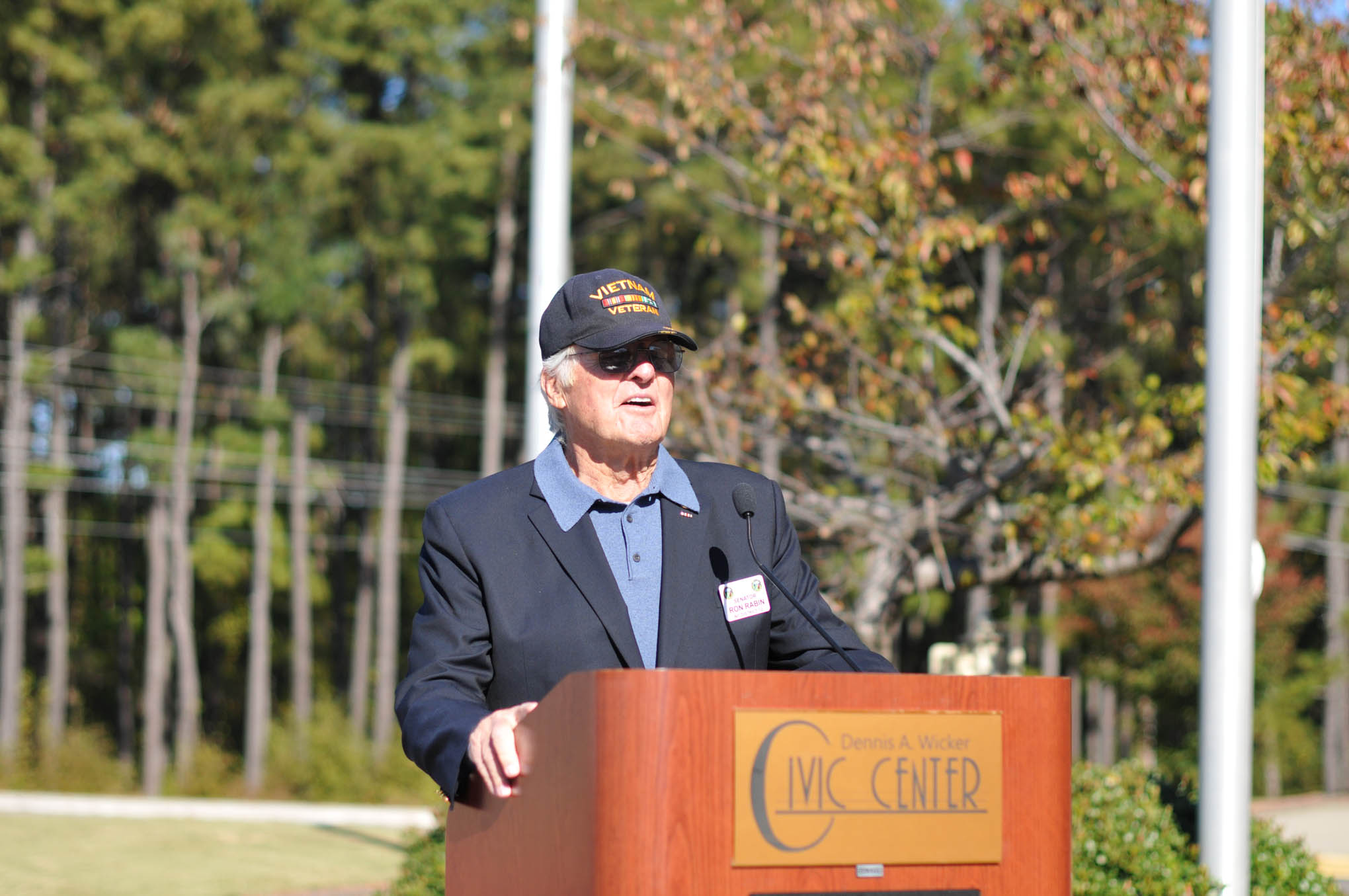 Click to enlarge,  Colonel (Ret.) Ronald Rabin, who serves as a member of the North Carolina Senate, provided opening remarks at the Veterans Day observance on Thursday, Nov. 10, at the Dennis A. Wicker Civic Center.
