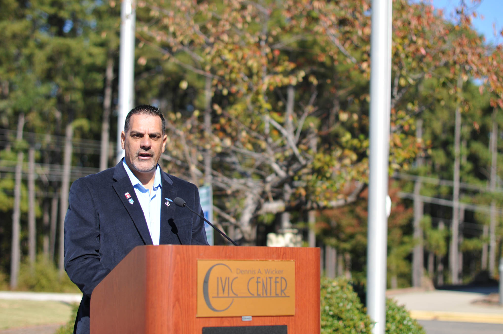 Click to enlarge,  Michael J. Morris, a current Central Carolina Community College student, was among the speakers at the Veterans Day observance on Thursday, Nov. 10, at the Dennis A. Wicker Civic Center.