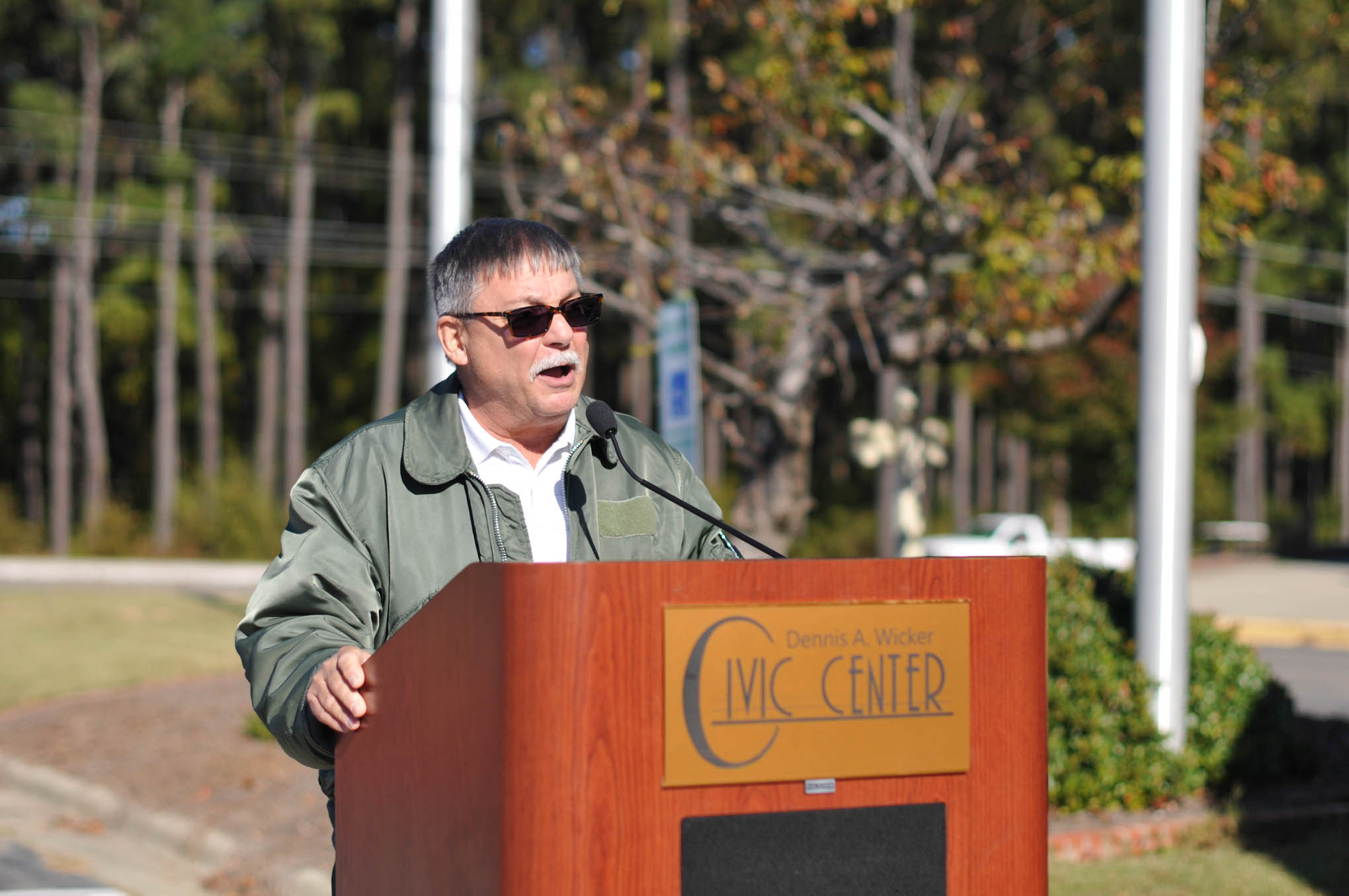 Click to enlarge,  Richard C. Biggs, MSgt., U.S. Air Force Retired, who currently serves as an instructor in Central Carolina Community College's Information Technology program, was Master of Ceremony at the Veterans Day observance on Thursday, Nov. 10, at the Dennis A. Wicker Civic Center.