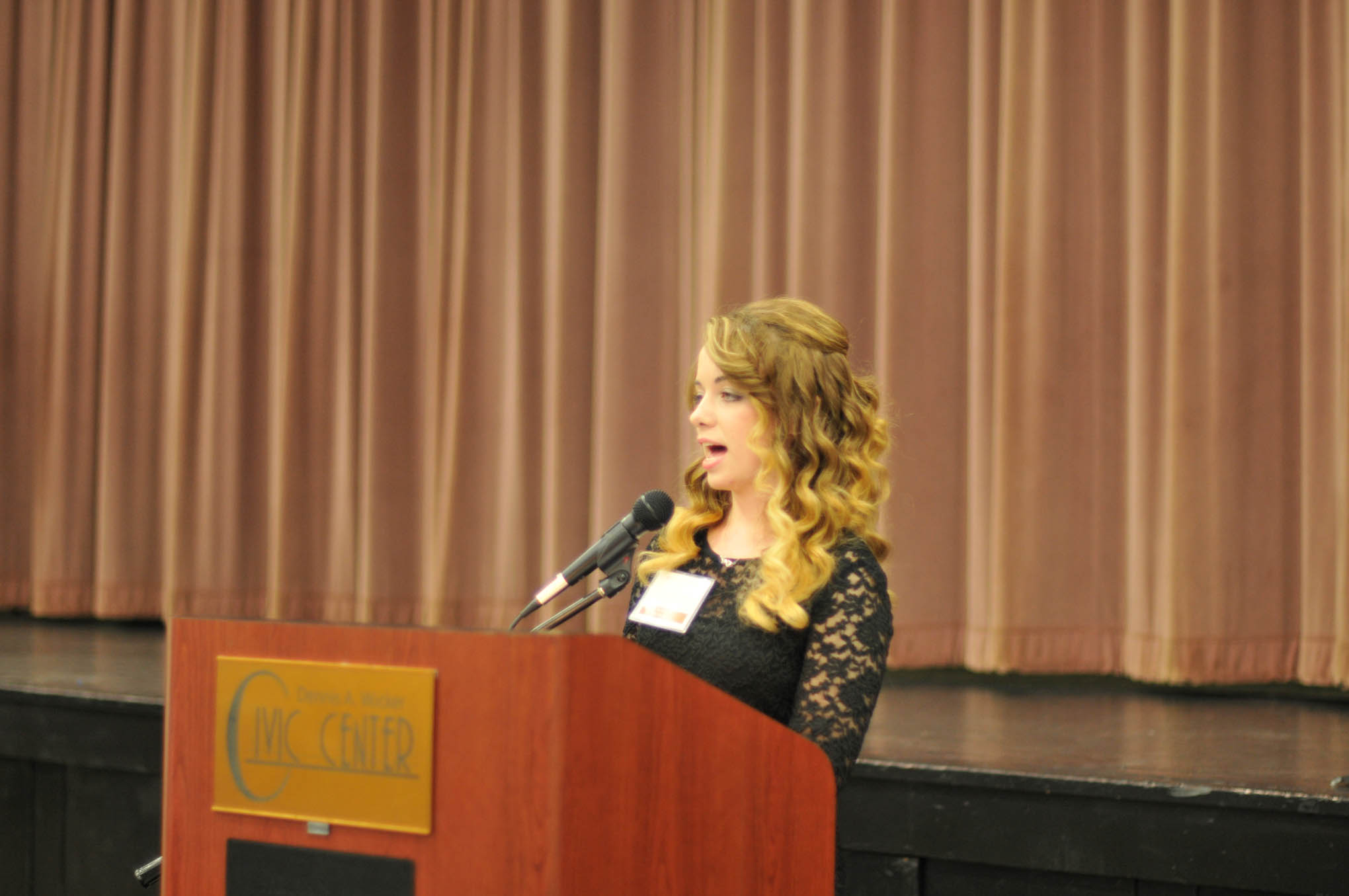 Click to enlarge,  Karley Mitchell of Moncure, a second-year Veterinary Medical Technology student, was the student speaker at Central Carolina Community College's Scholarship Luncheon on Wednesday, Nov. 16, at the Dennis A. Wicker Civic Center.